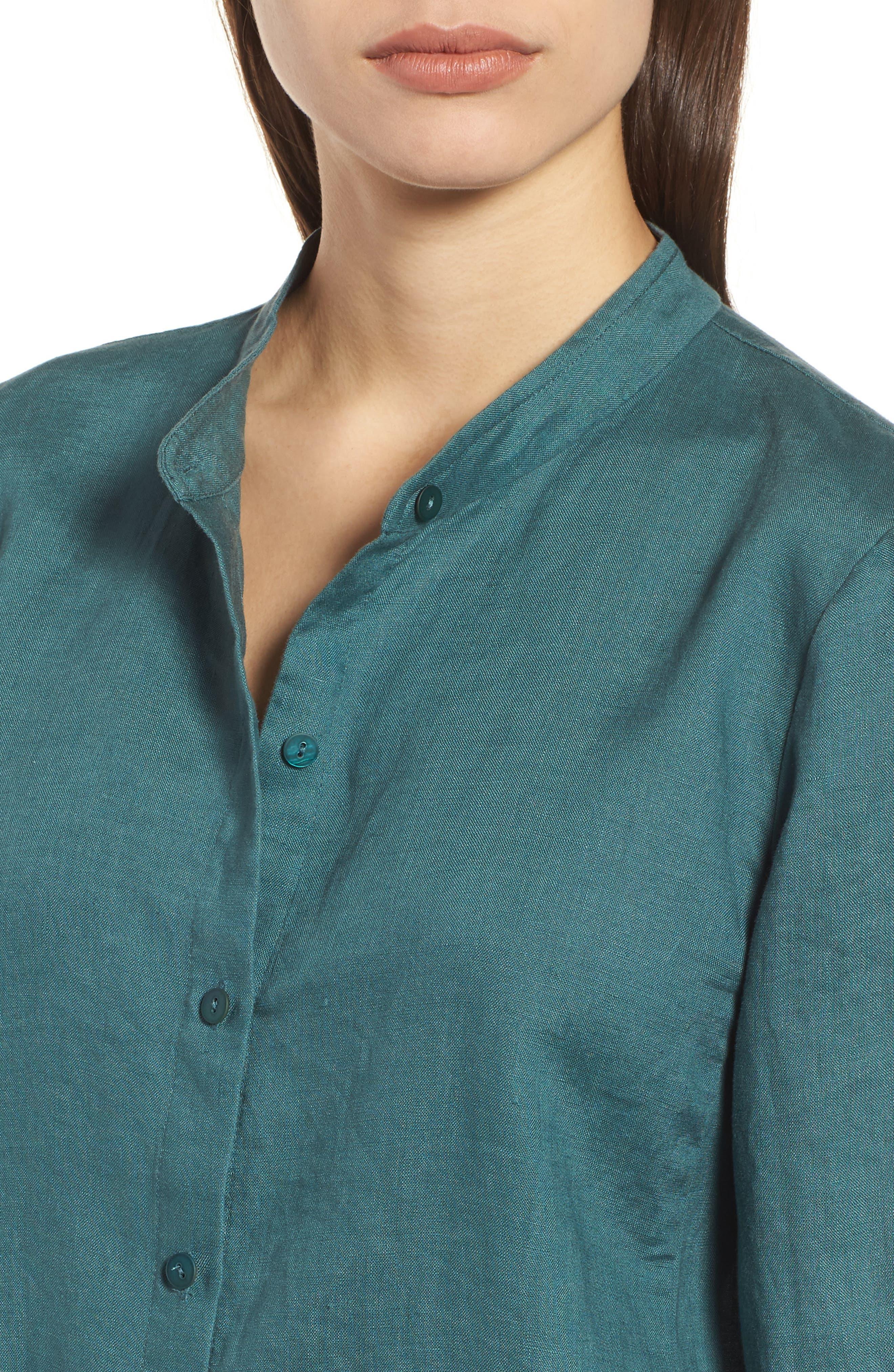 Organic Linen Tunic Shirt,                             Alternate thumbnail 4, color,                             Dragonfly