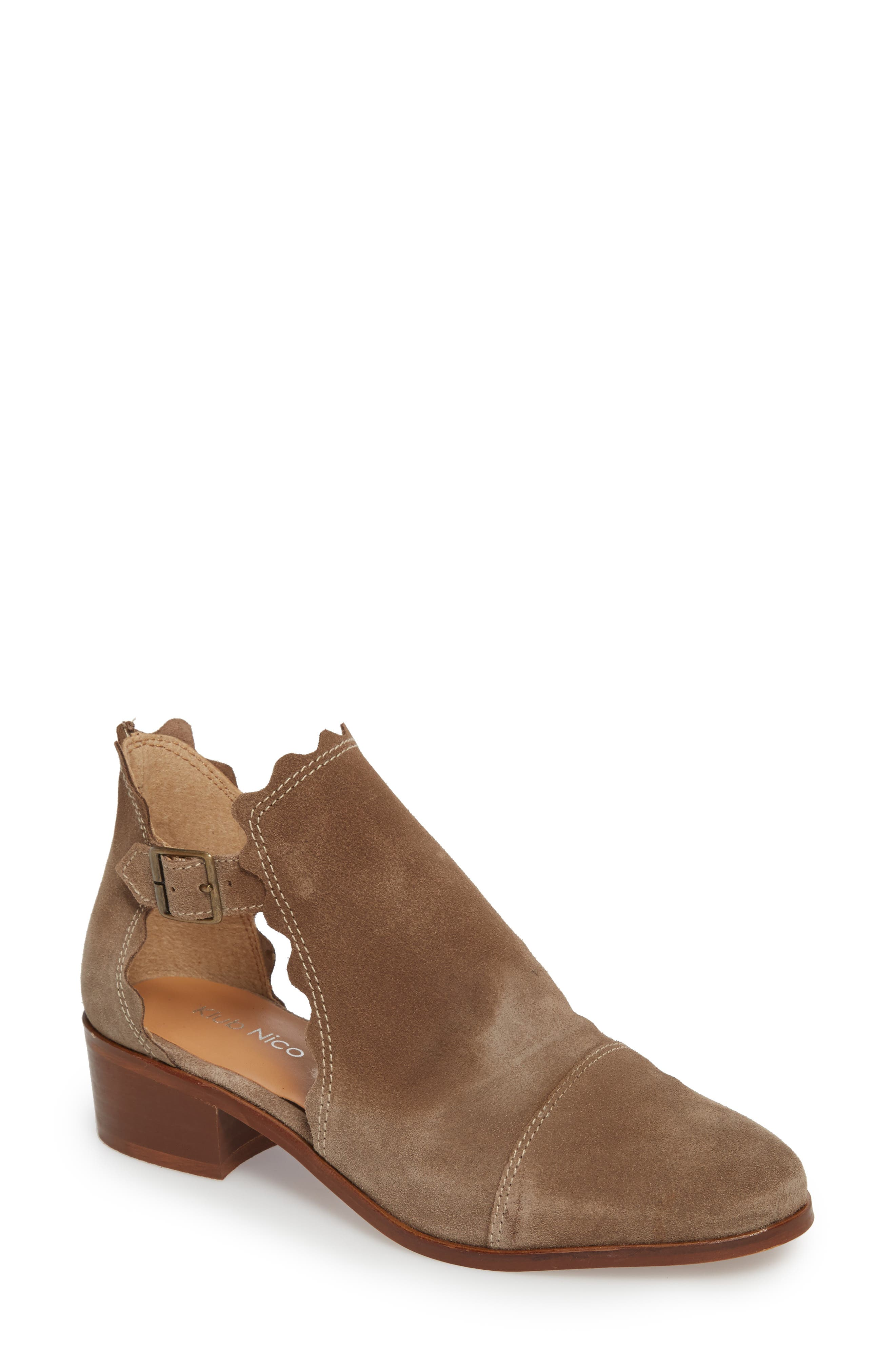 Beau Open Side Bootie,                             Main thumbnail 1, color,                             Taupe Suede