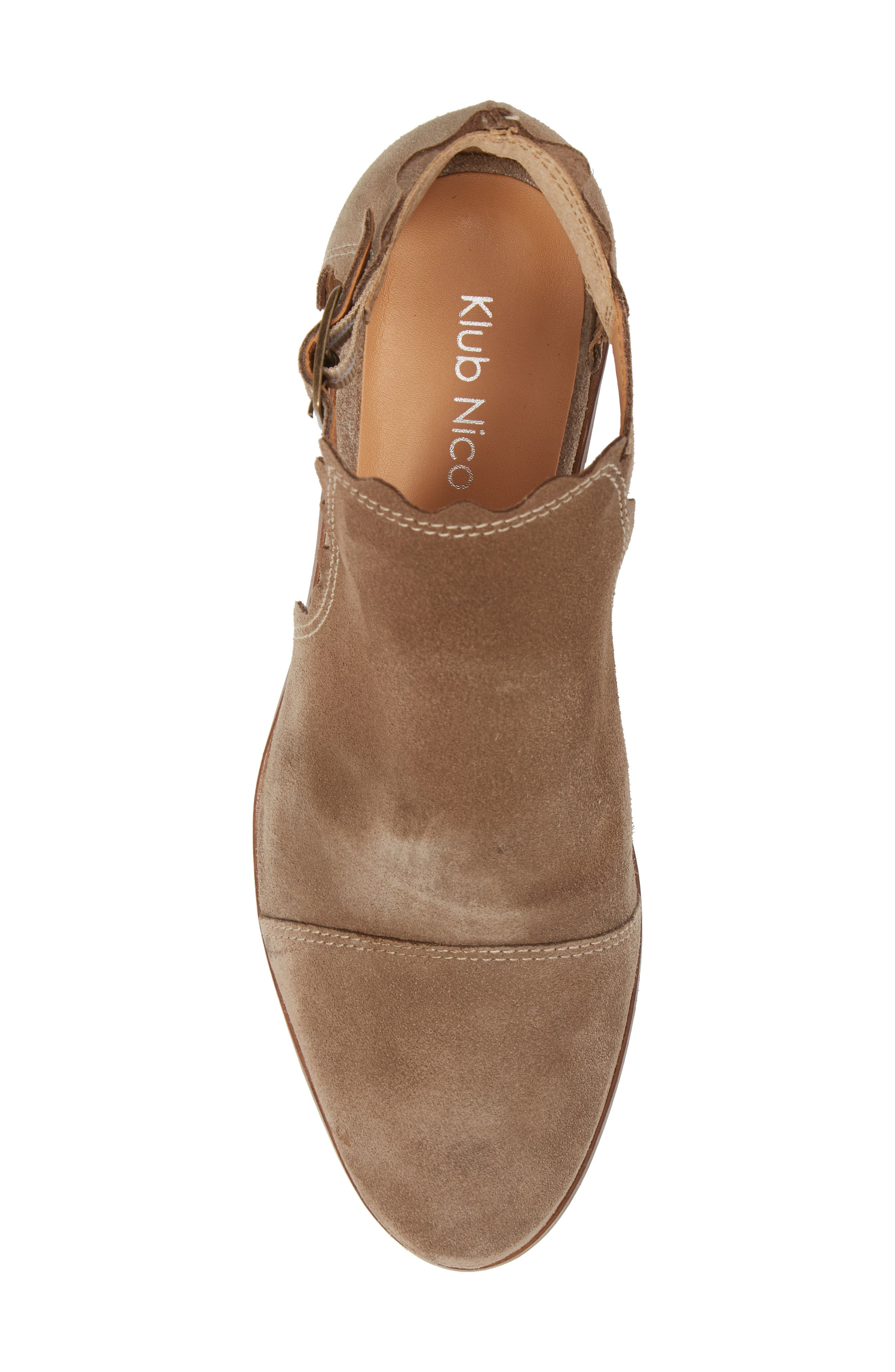 Beau Open Side Bootie,                             Alternate thumbnail 5, color,                             Taupe Suede