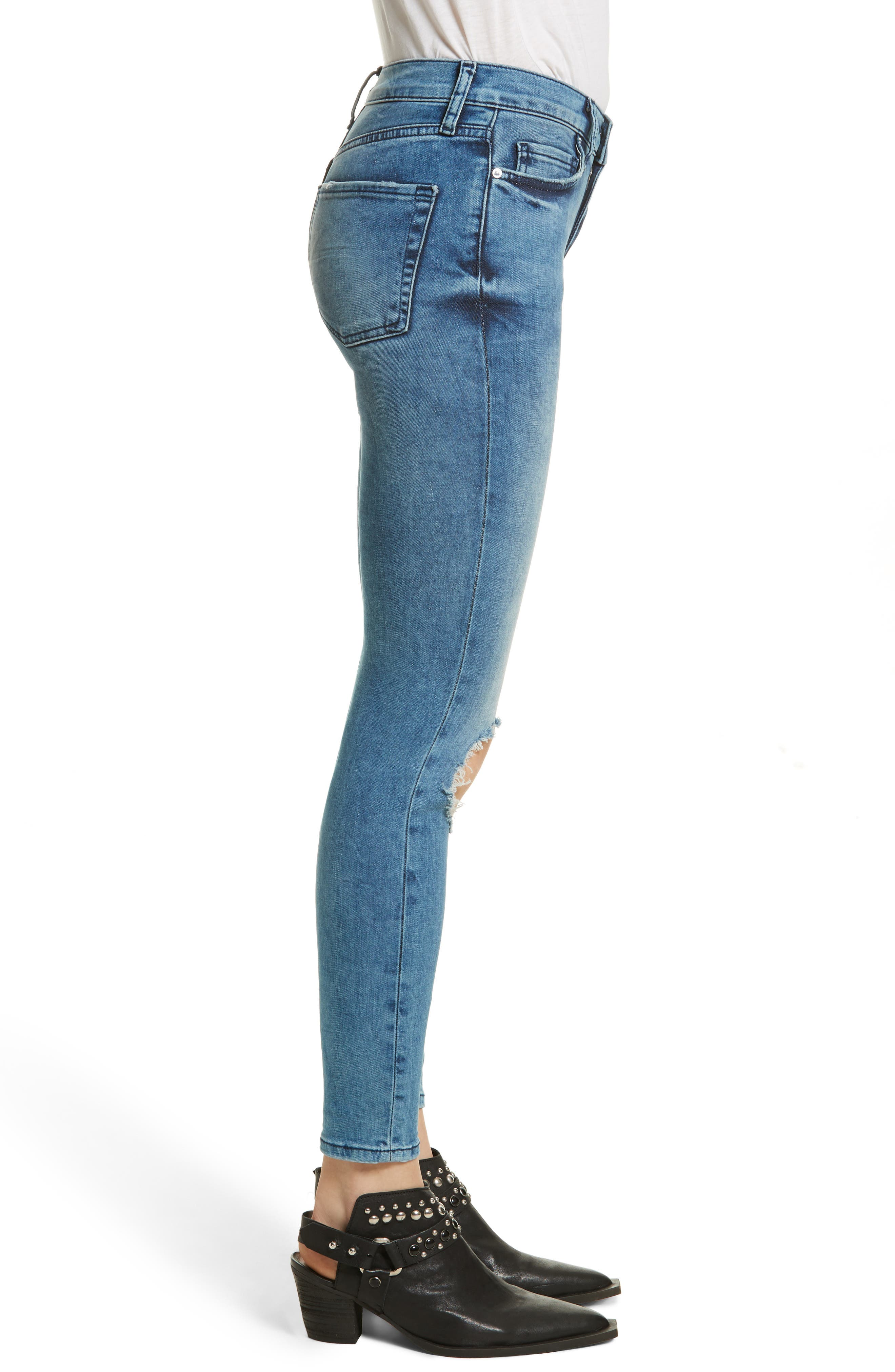 High Rise Busted Knee Skinny Jeans,                             Alternate thumbnail 3, color,                             Turquoise