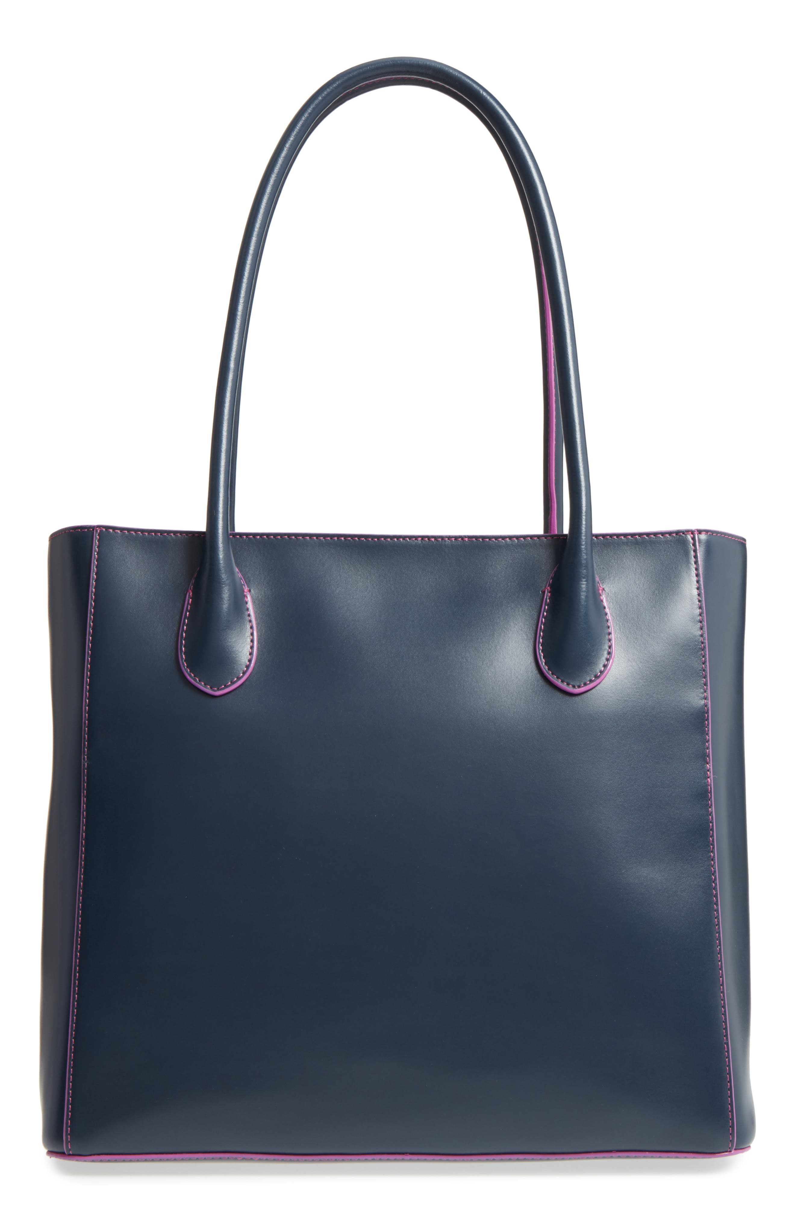 Cecily RFID Leather Tote,                             Alternate thumbnail 3, color,                             Navy/ Orchid
