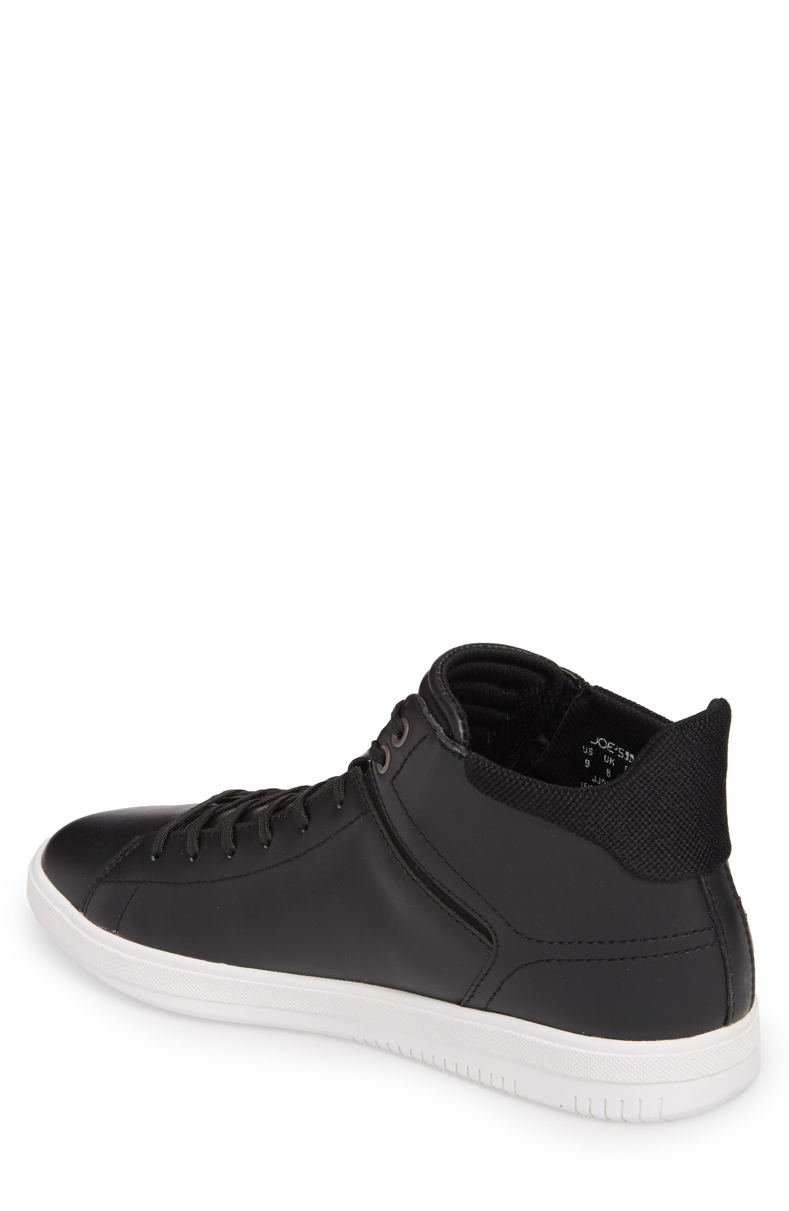 Joe Z Mid Top Sneaker,                             Alternate thumbnail 2, color,                             Black Leather