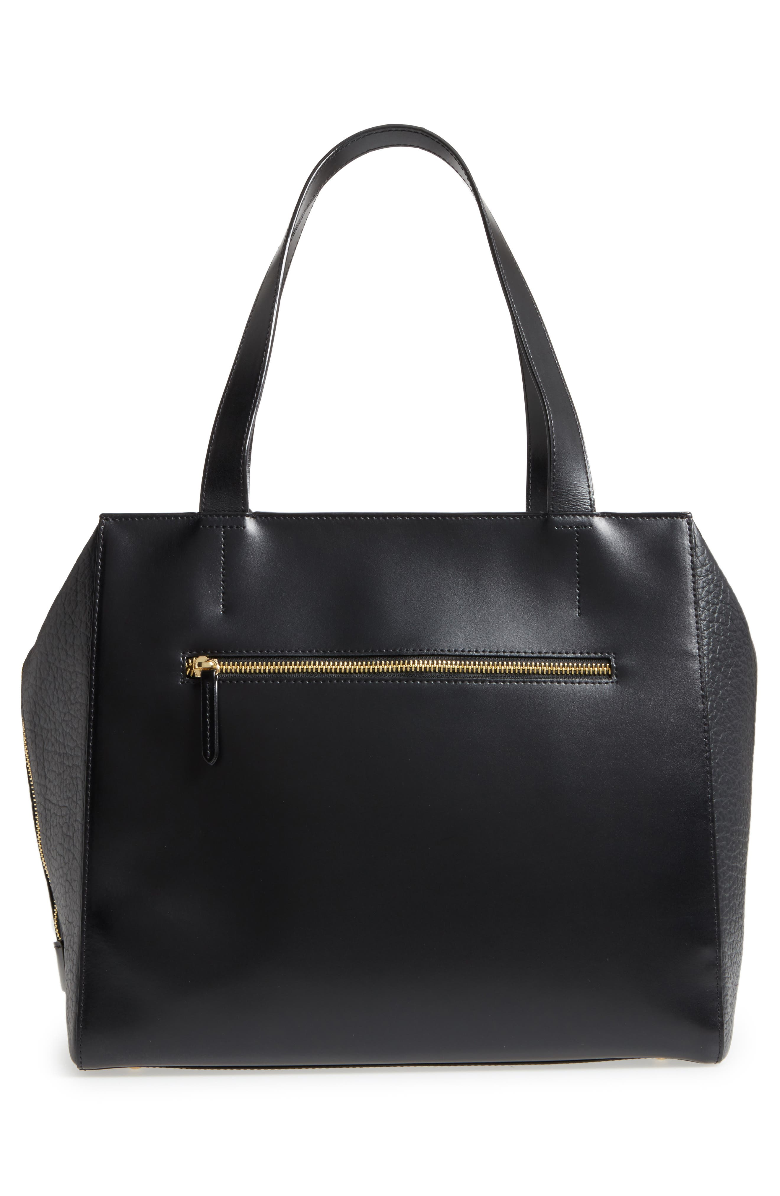 In the Mix Doris RFID Leather Work Tote,                             Alternate thumbnail 3, color,                             Jet