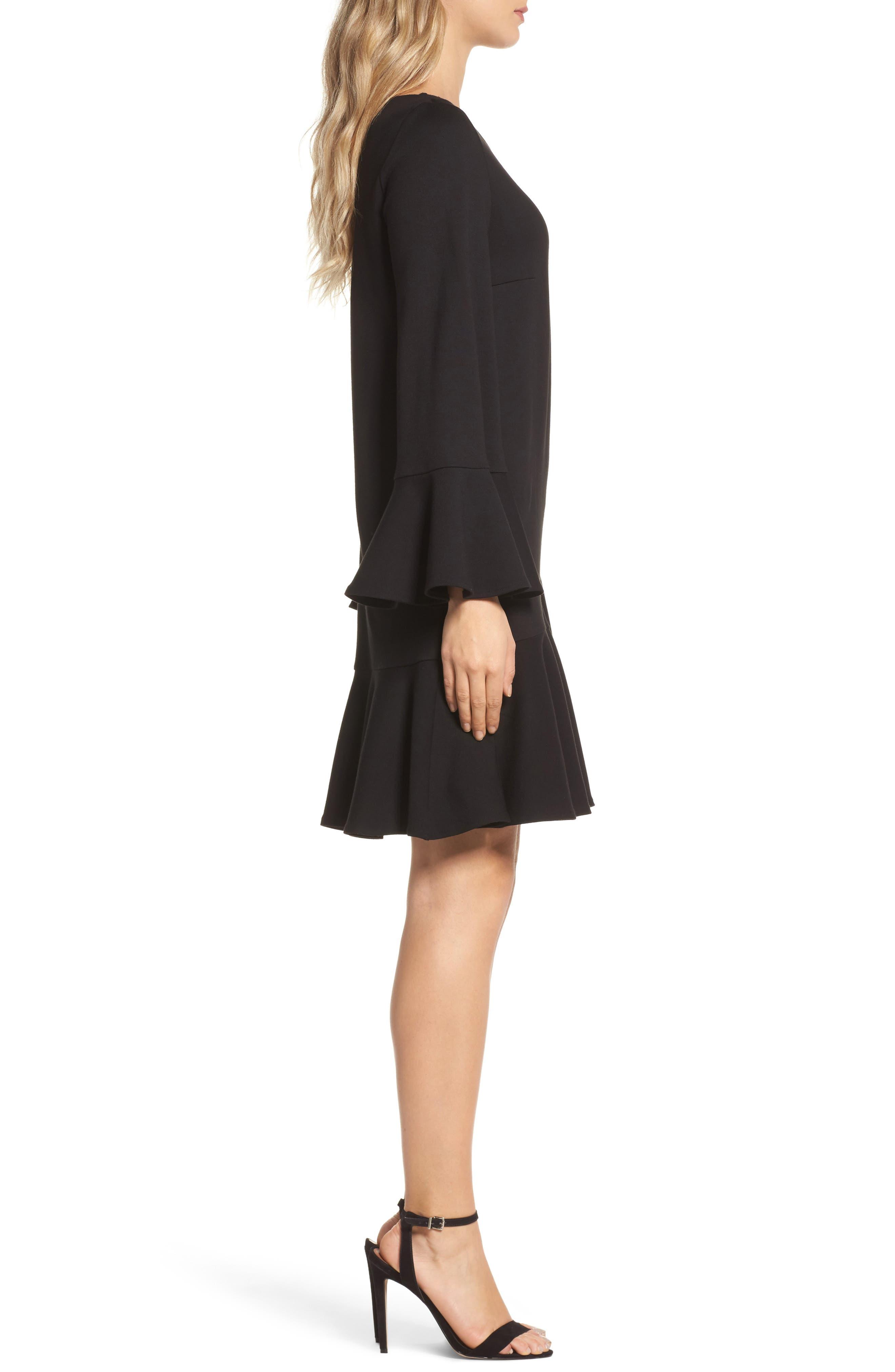 Matuku Lula Bell Sleeve Dress,                             Alternate thumbnail 3, color,                             Black