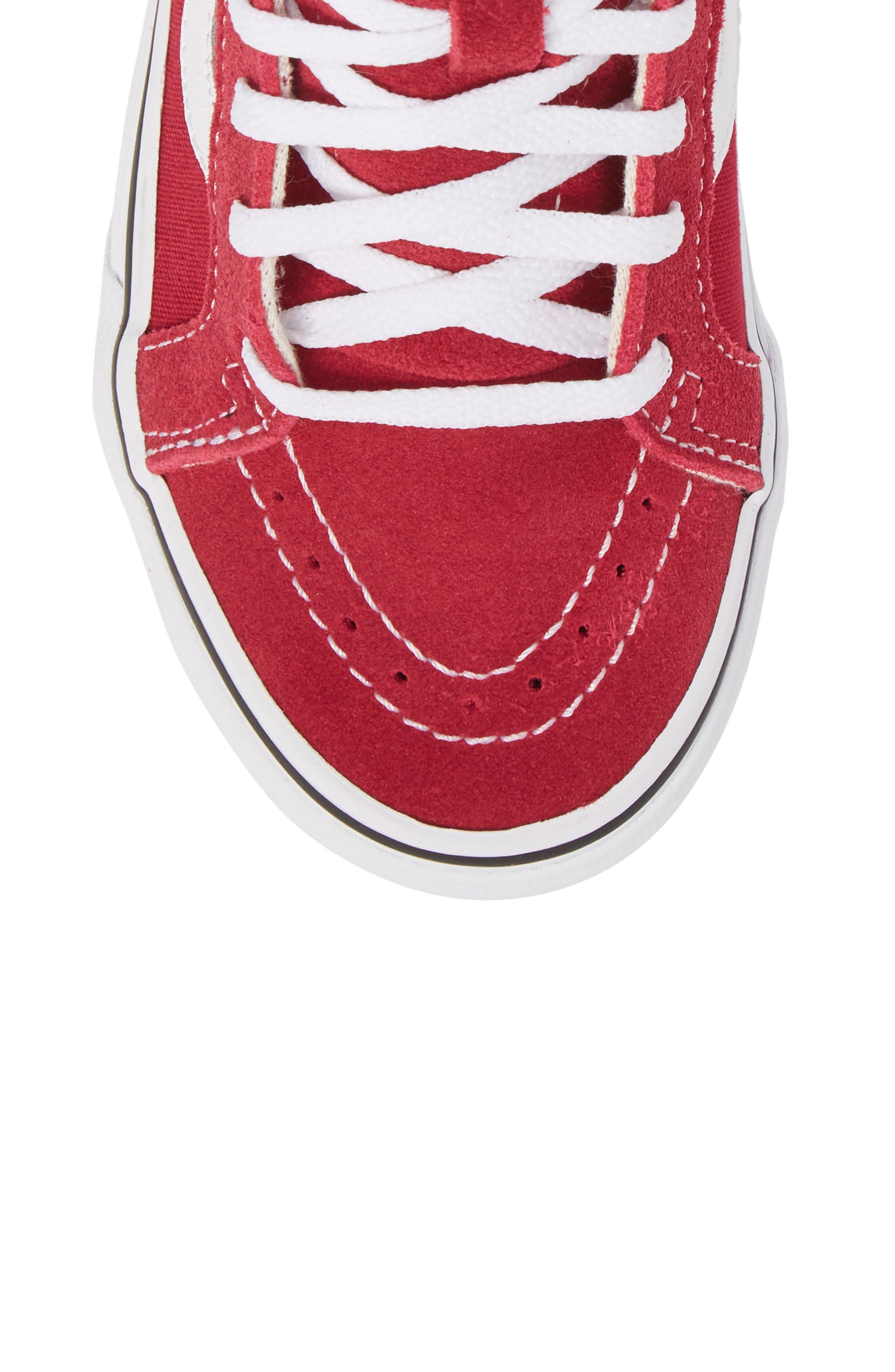 'Sk8-Hi' Zip Sneaker,                             Alternate thumbnail 5, color,                             Persian Red/ True White