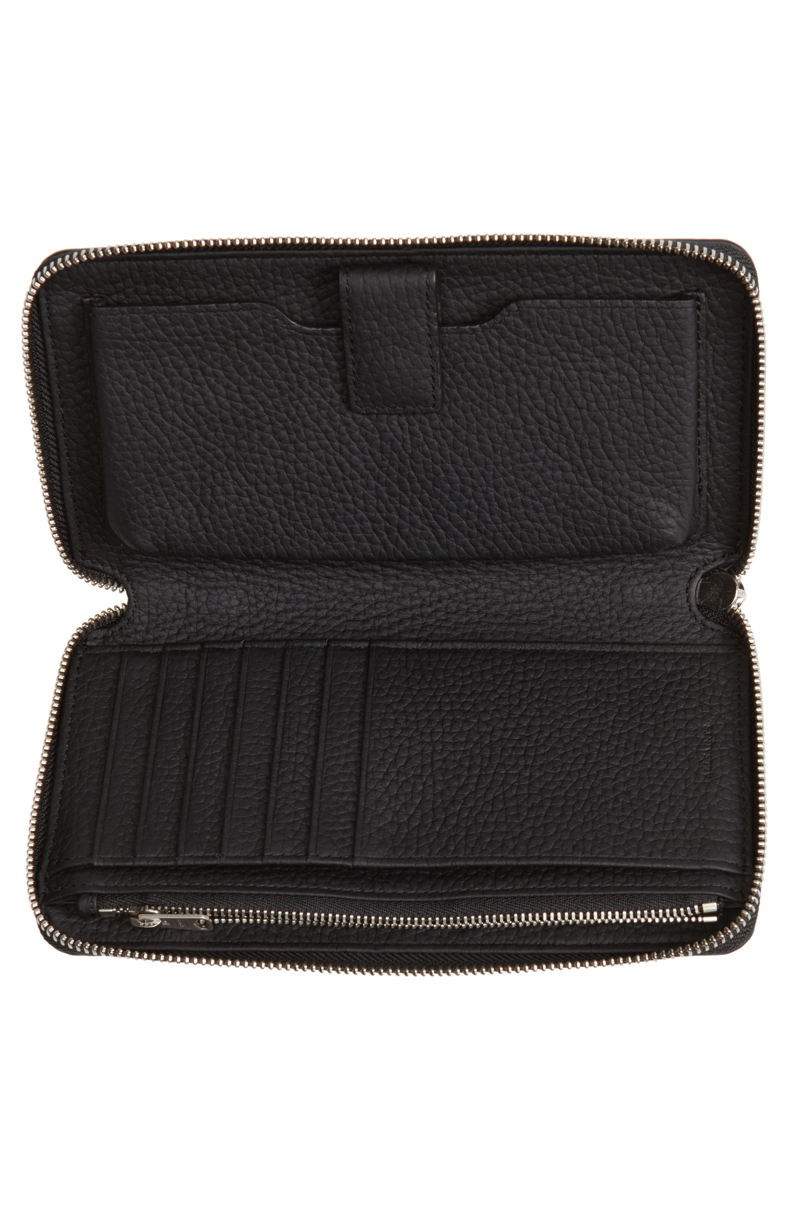 Fetch Leather Phone Wristlet,                             Alternate thumbnail 4, color,                             Black