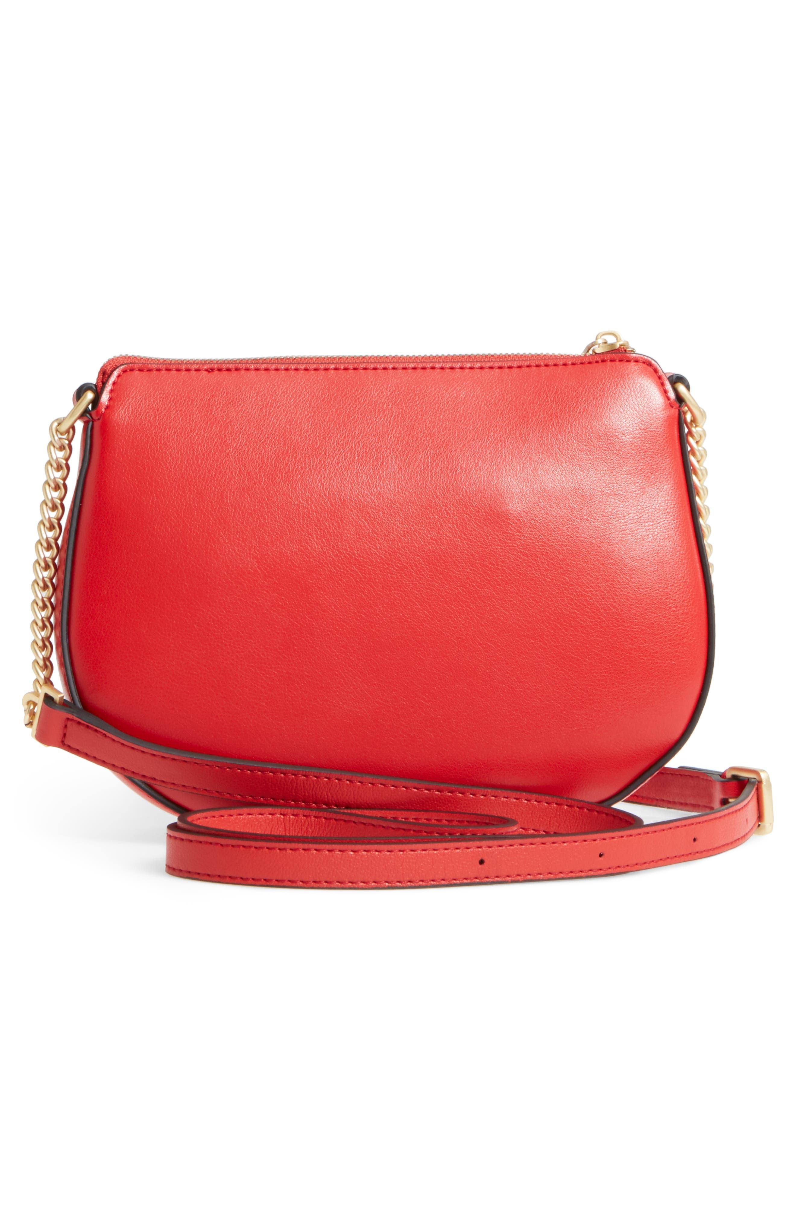 Céline Dion Octave Leather Crossbody Bag,                             Alternate thumbnail 3, color,                             Red