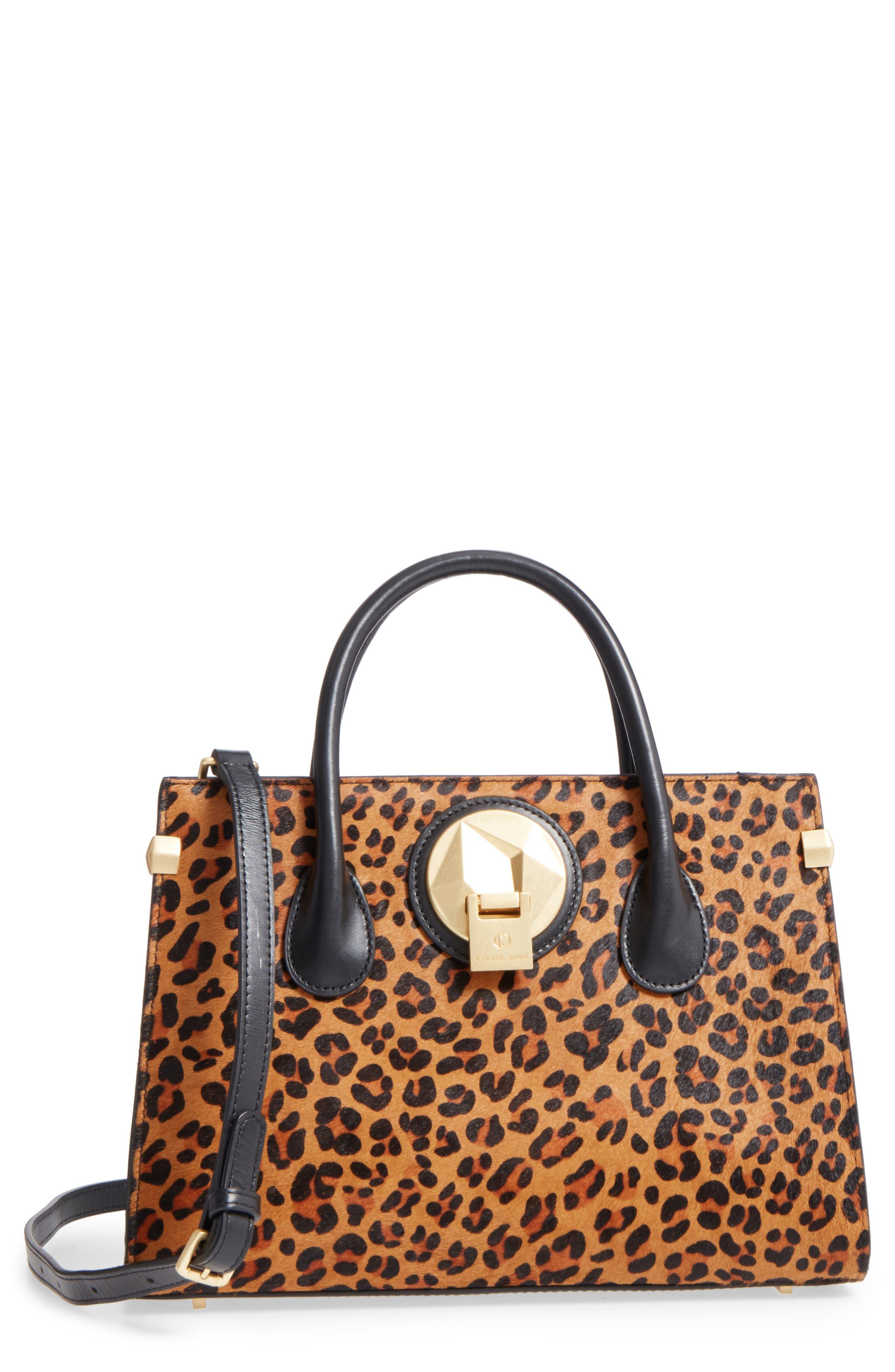 Céline Dion Leopard Print Genuine Calf Hair Octave Satchel,                             Main thumbnail 1, color,                             Leopard