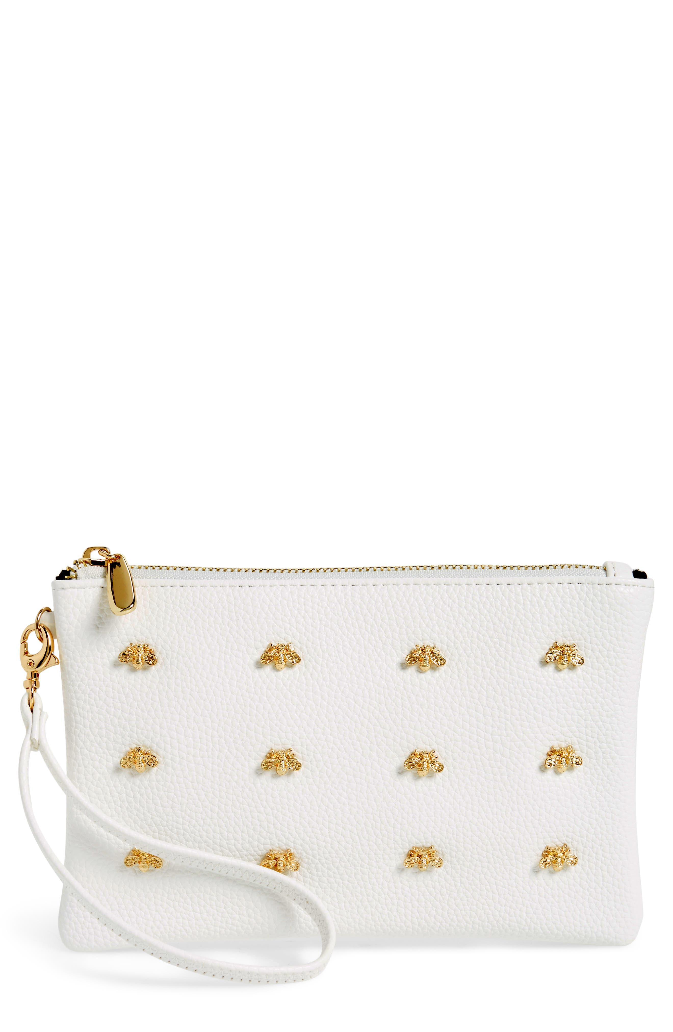 Bee Faux Leather Wristlet,                         Main,                         color, White