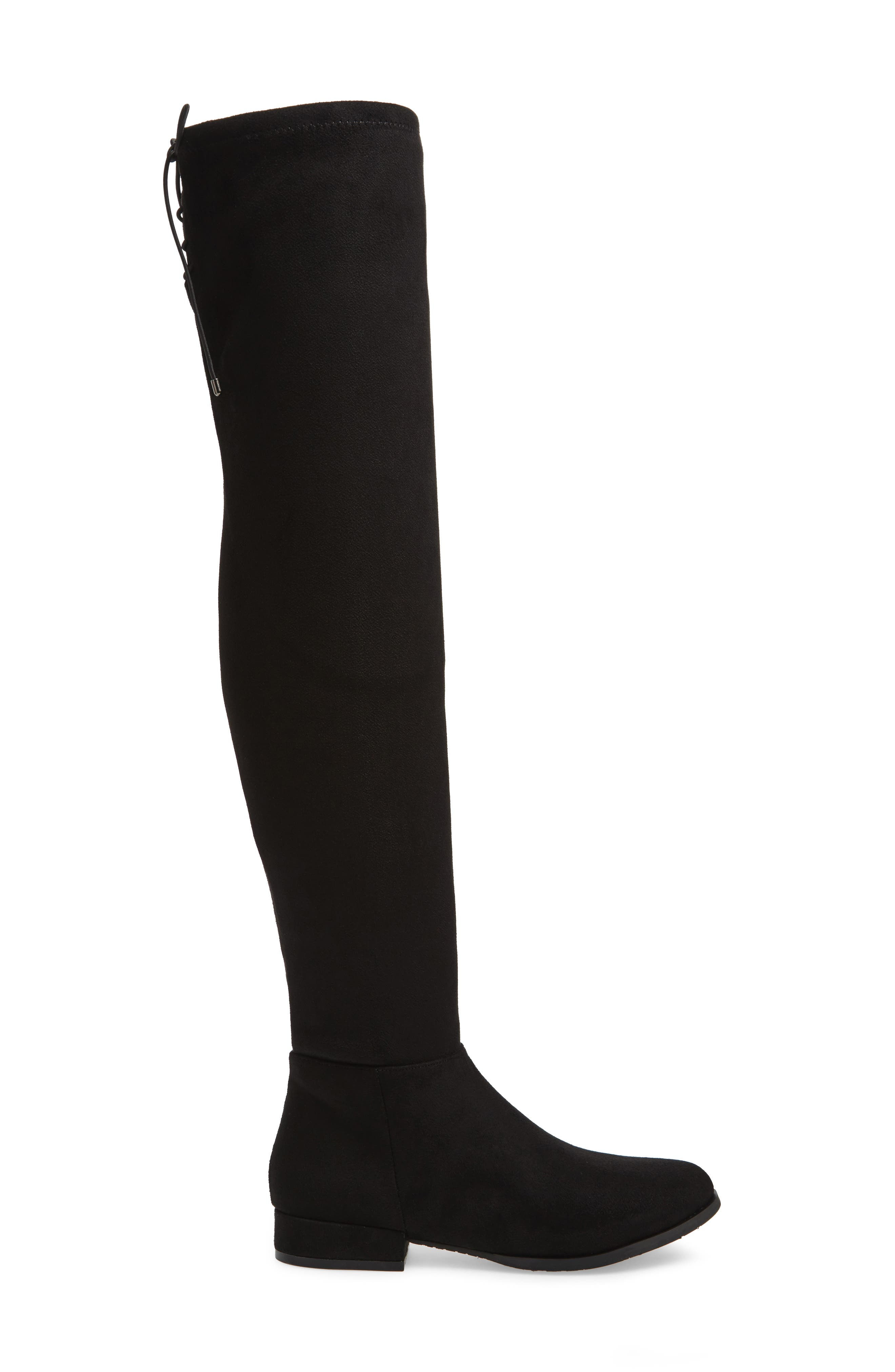 Rashelle Over the Knee Stretch Boot,                             Alternate thumbnail 2, color,                             Black Suede
