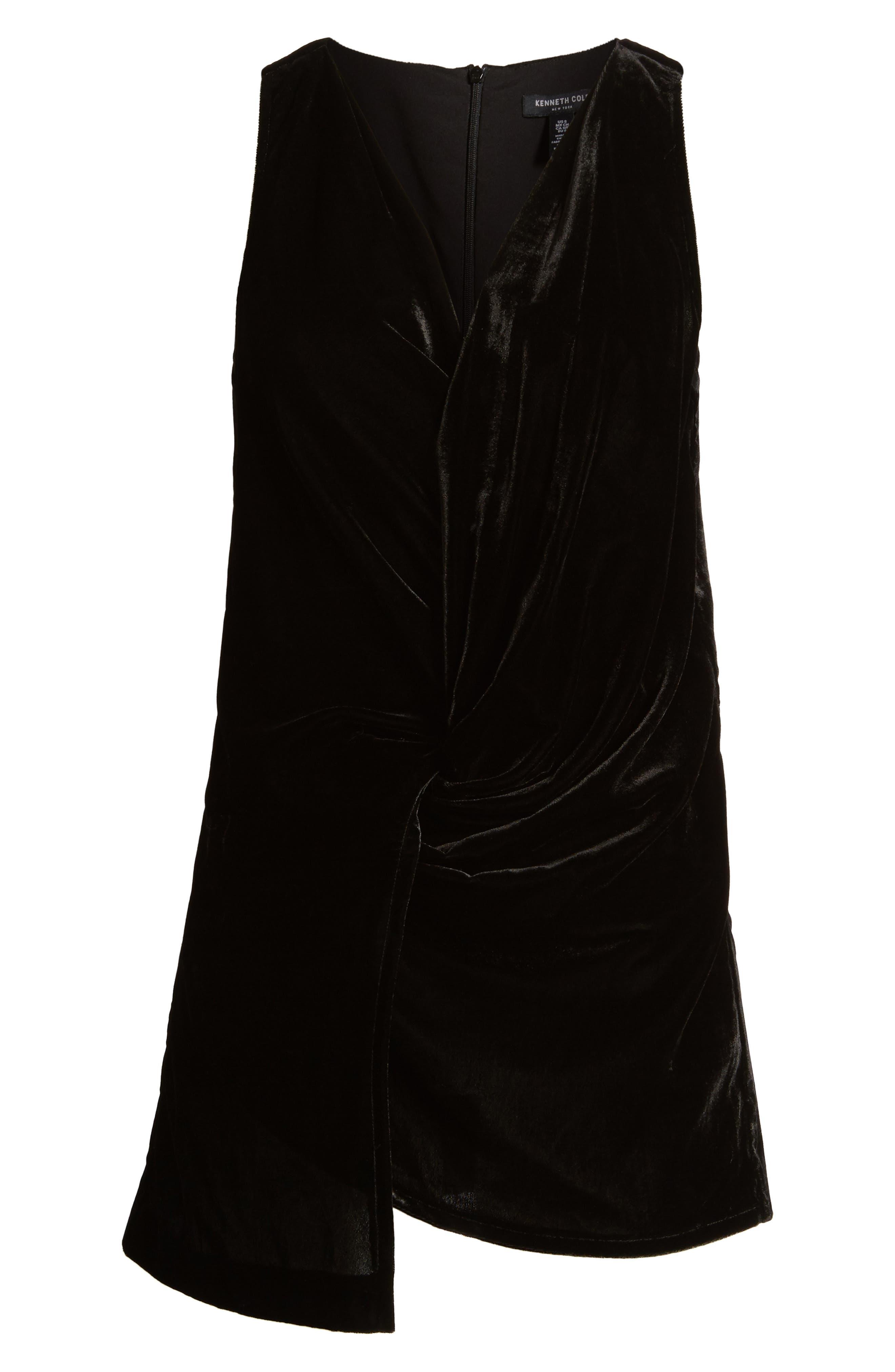 Kenneth Cole Velvet Drape Tank Top,                             Alternate thumbnail 6, color,                             Black