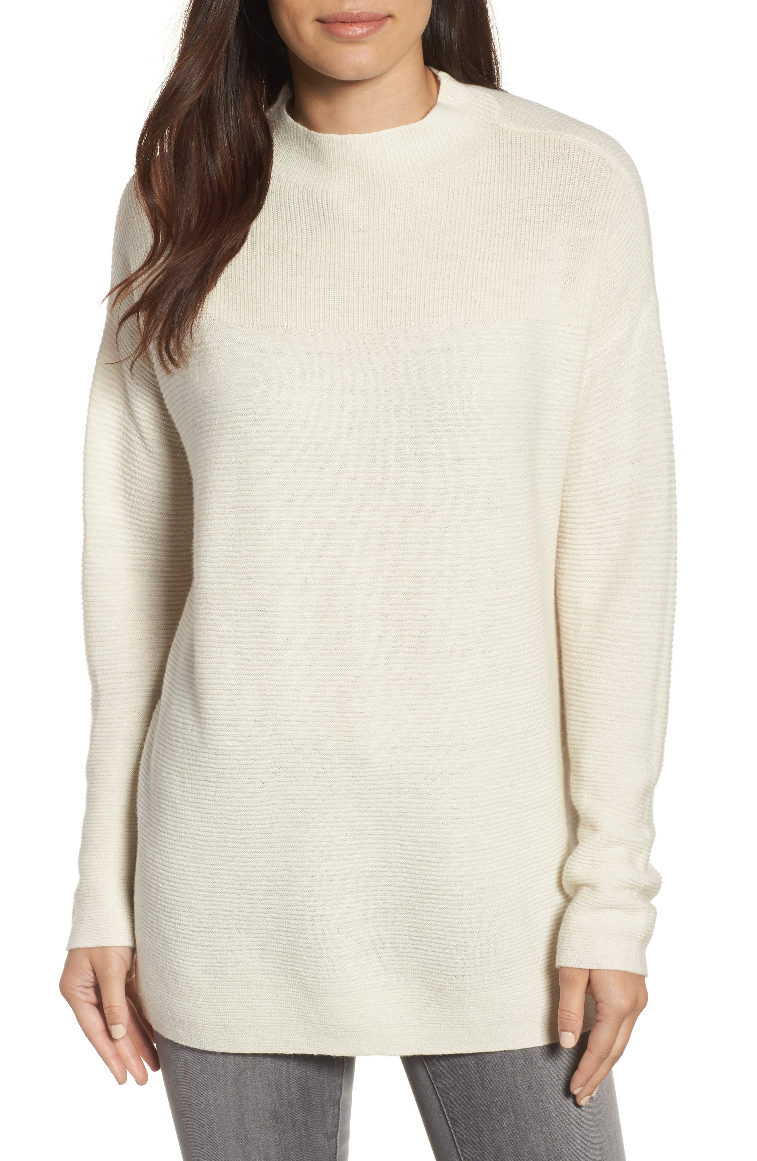 Ribbed Wool Blend Sweater,                             Main thumbnail 1, color,                             Soft White