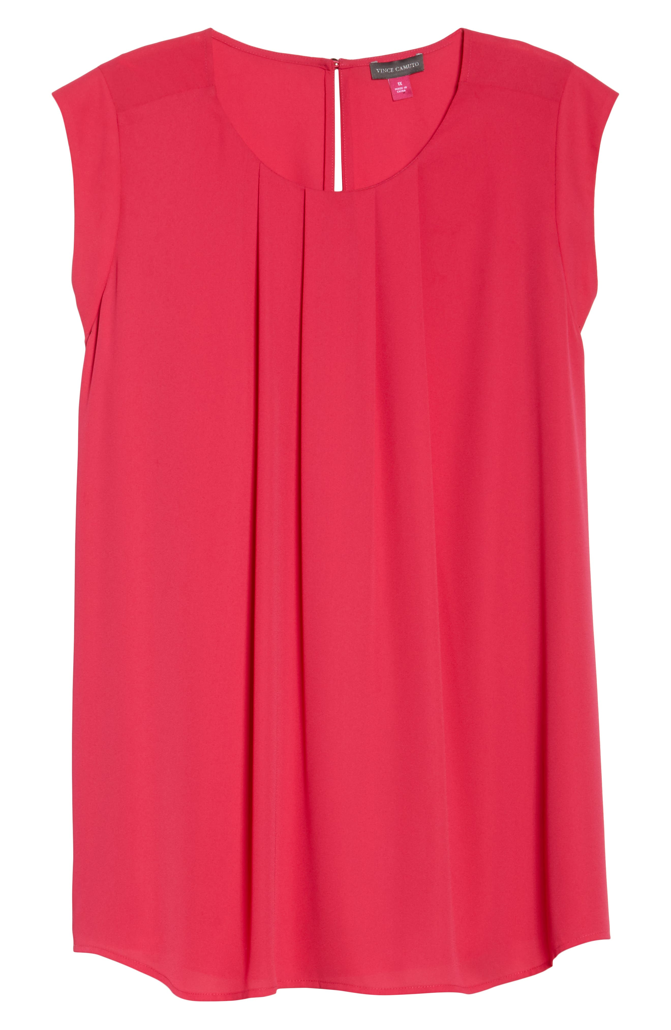 Pleated Blouse,                             Alternate thumbnail 6, color,                             Vibrant Pink