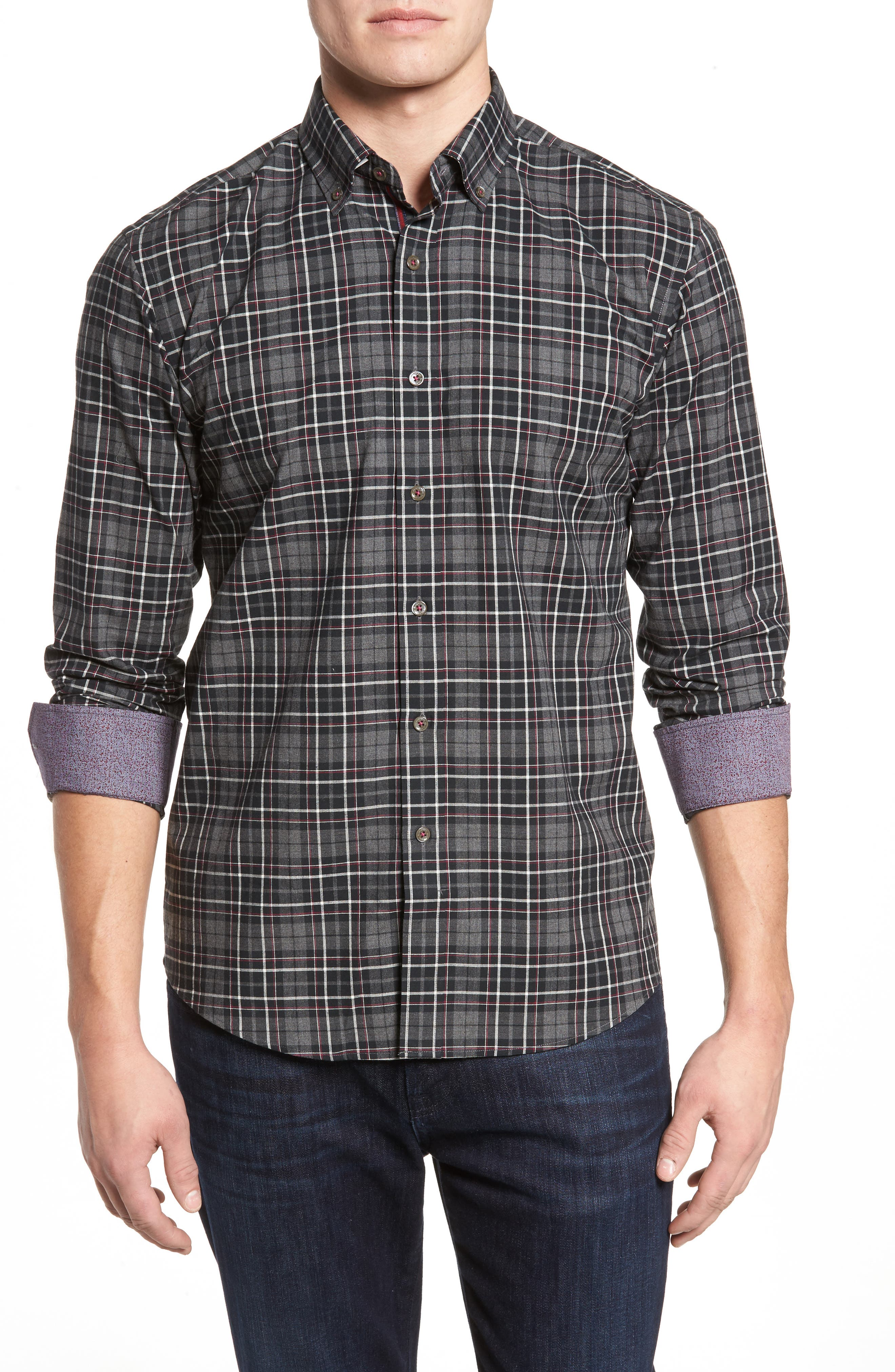 Main Image - Bugatchi Shaped Fit Plaid Sport Shirt