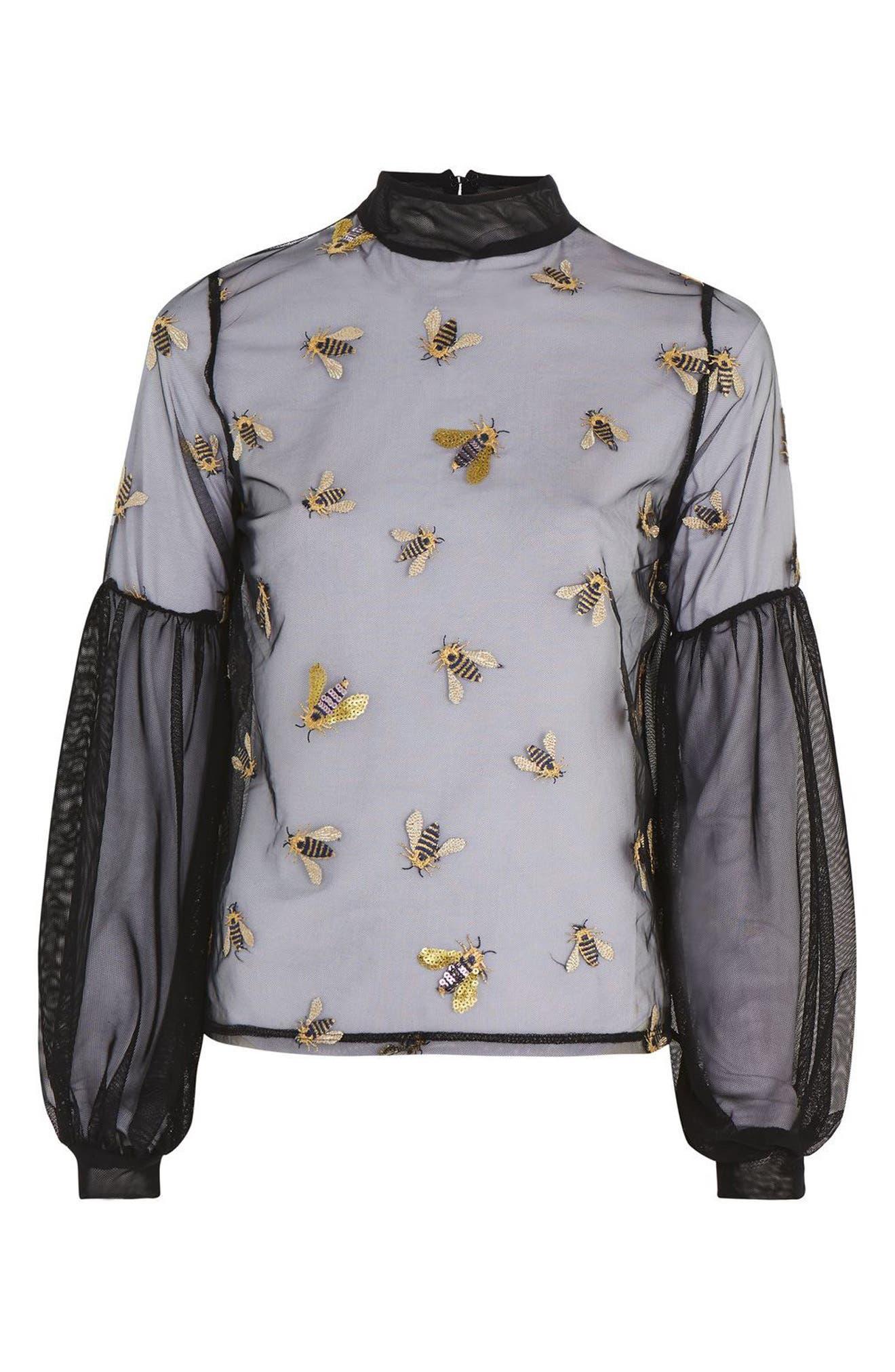 Embellished Bee Mesh Blouse,                             Alternate thumbnail 4, color,                             Black Multi