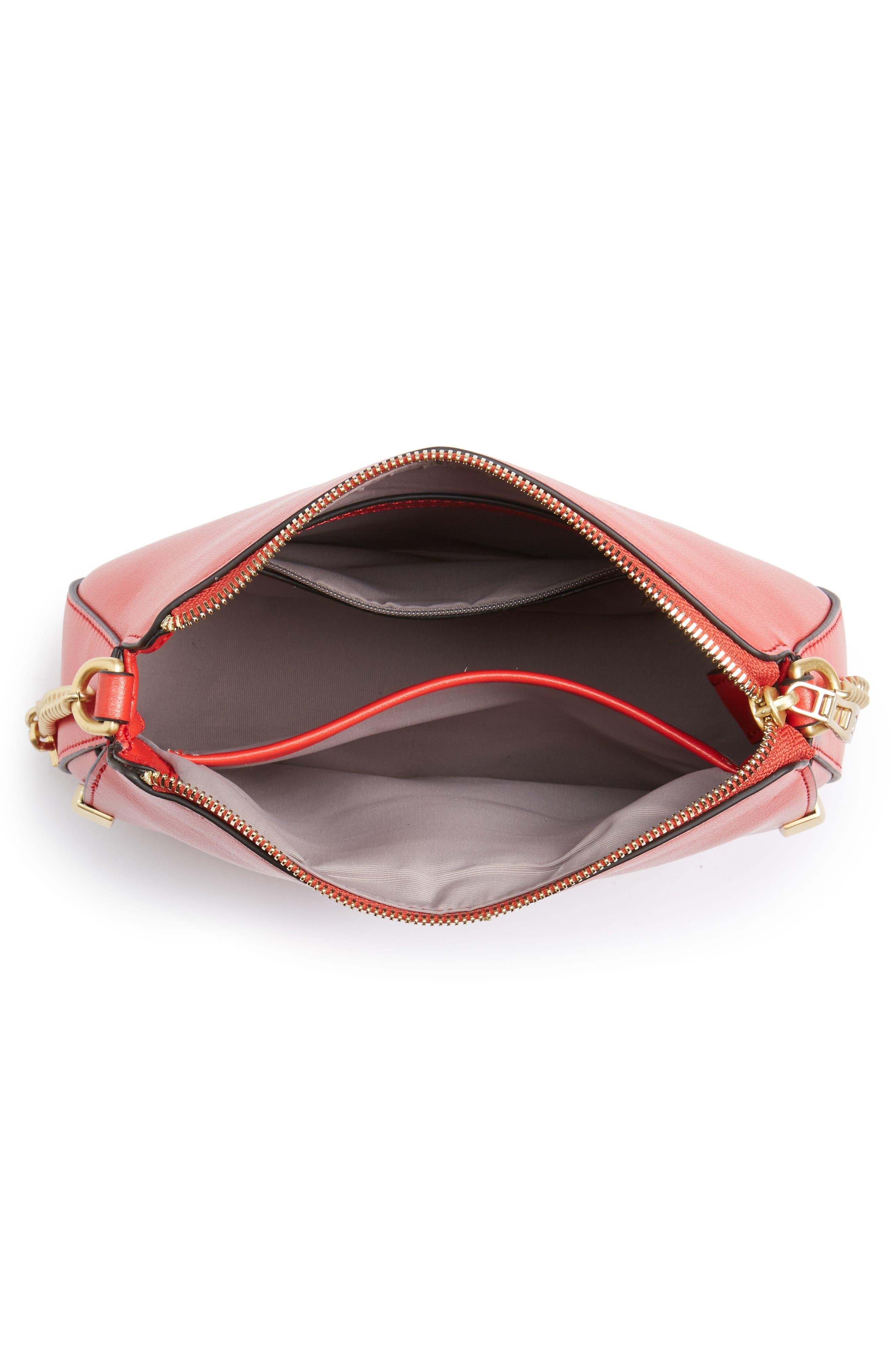 Céline Dion Octave Leather Crossbody Bag,                             Alternate thumbnail 4, color,                             Red
