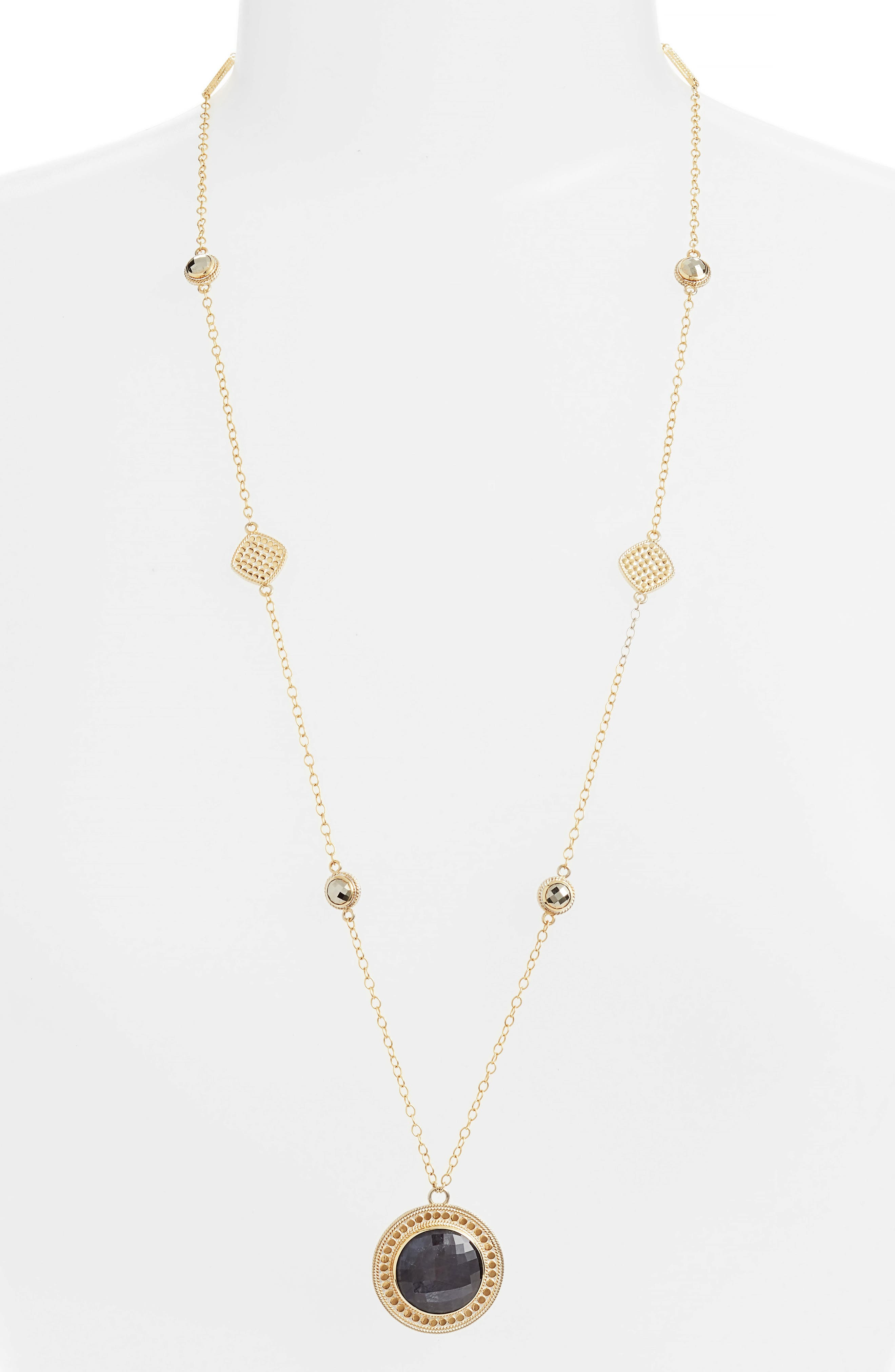 Alternate Image 1 Selected - Anna Beck Grey Sapphire & Pyrite Long Pendant Necklace