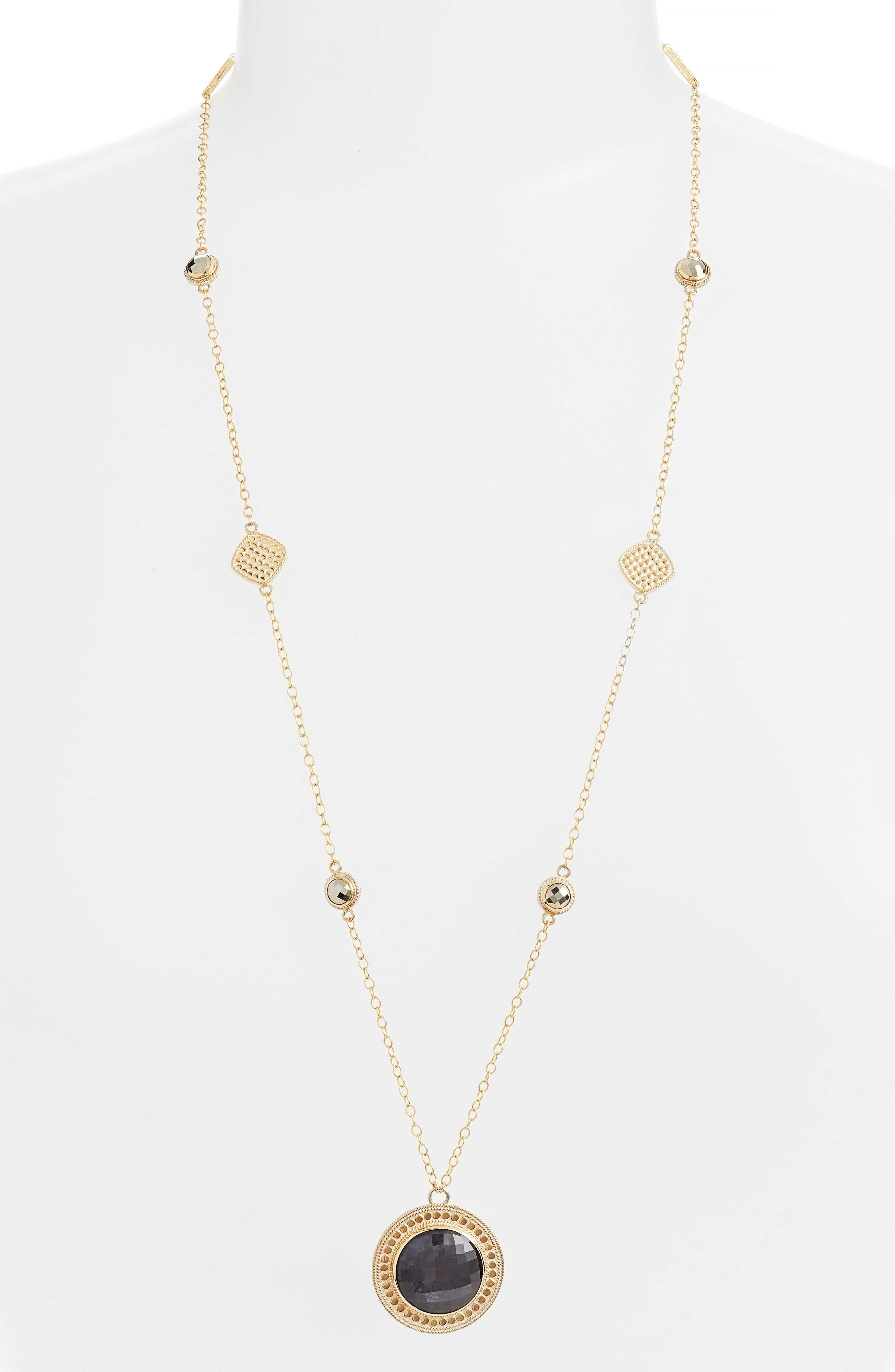 Grey Sapphire & Pyrite Long Pendant Necklace,                         Main,                         color, Gold/ Silver/ Grey/ Pyrite