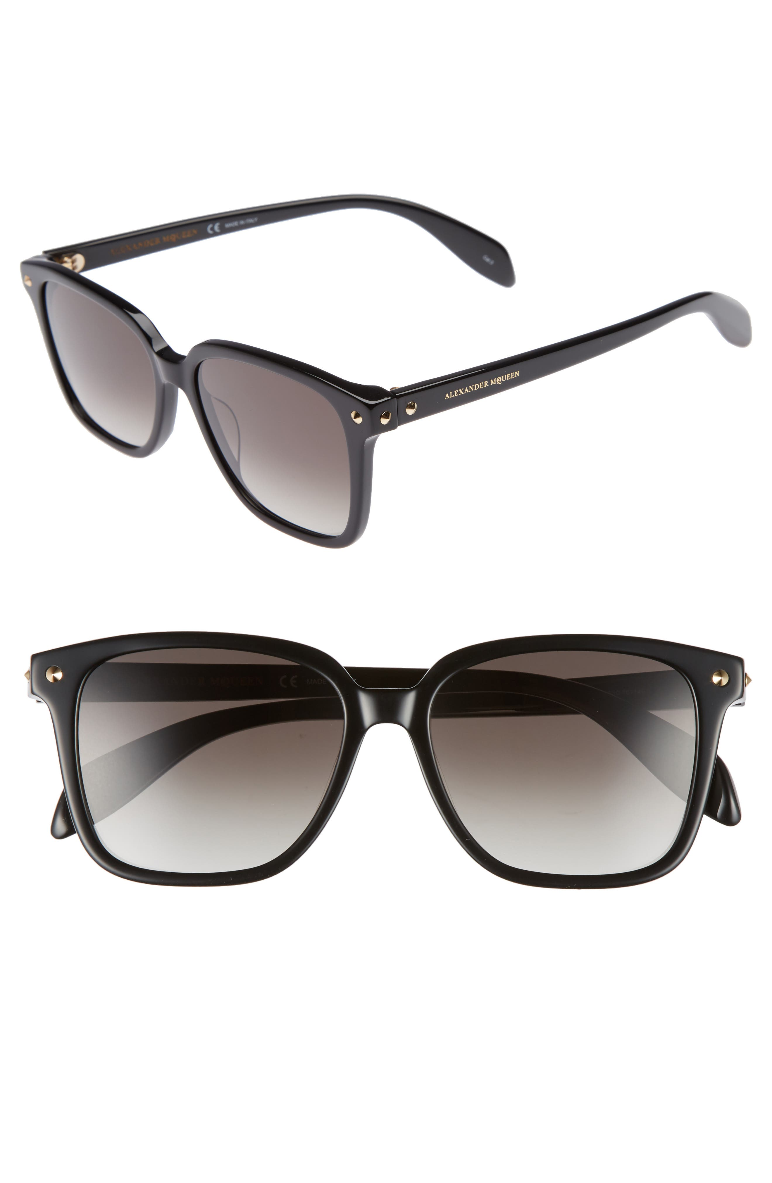 53mm Square Sunglasses,                         Main,                         color, Black