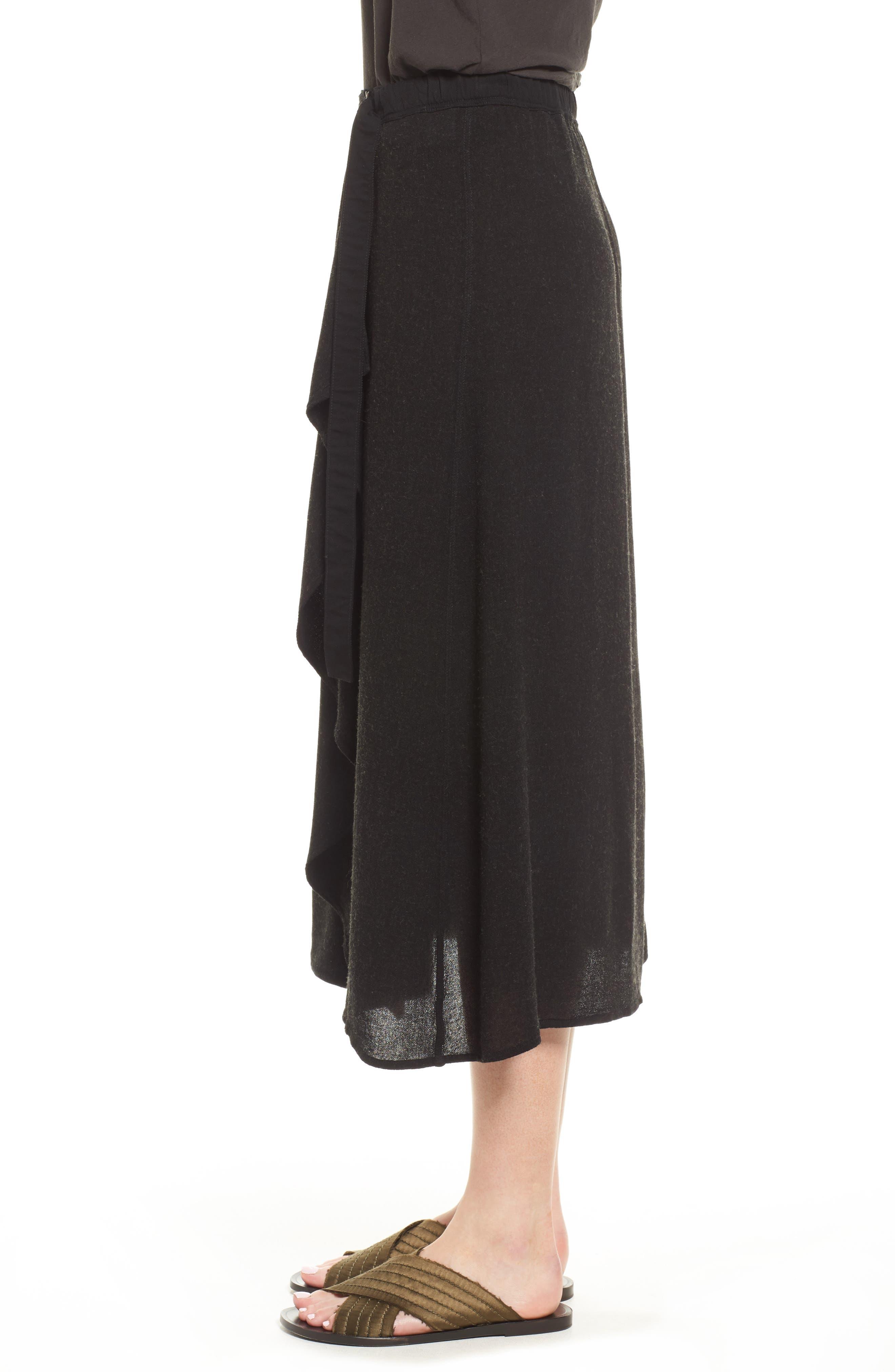 Midi Skirt,                             Alternate thumbnail 3, color,                             Black