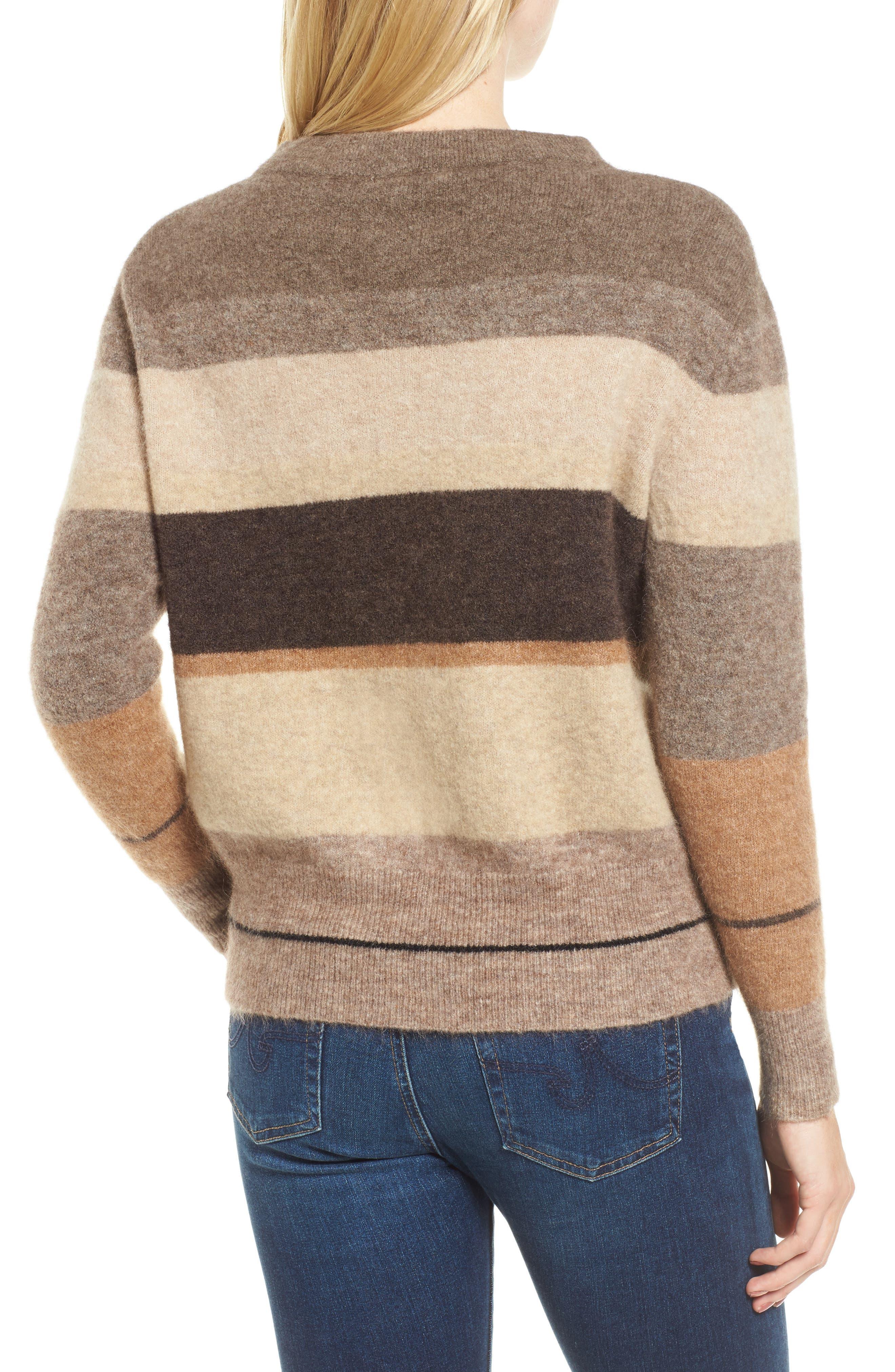 Stripe Sweater,                             Alternate thumbnail 2, color,                             Brown Multi Stripe