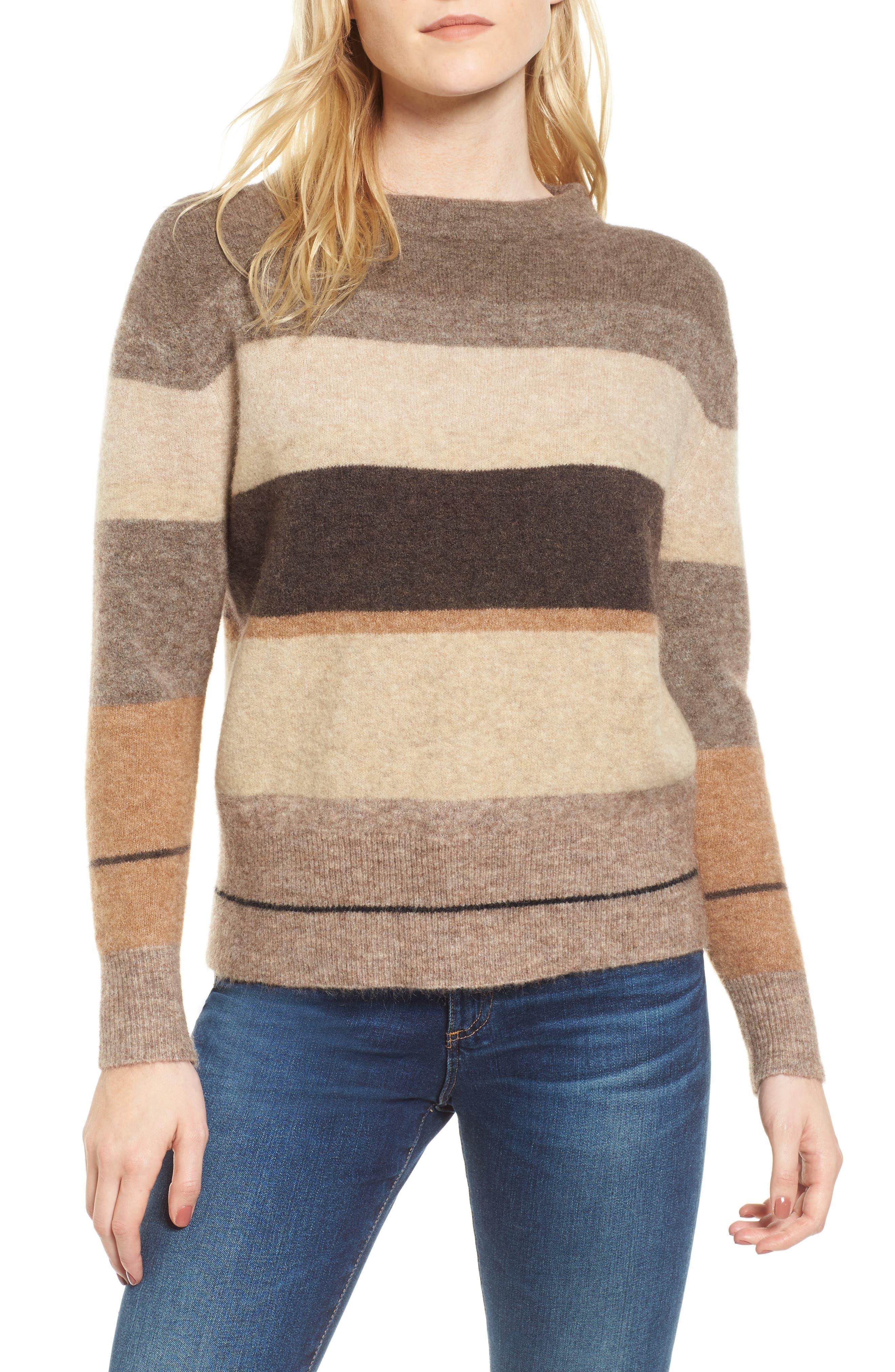Stripe Sweater,                         Main,                         color, Brown Multi Stripe