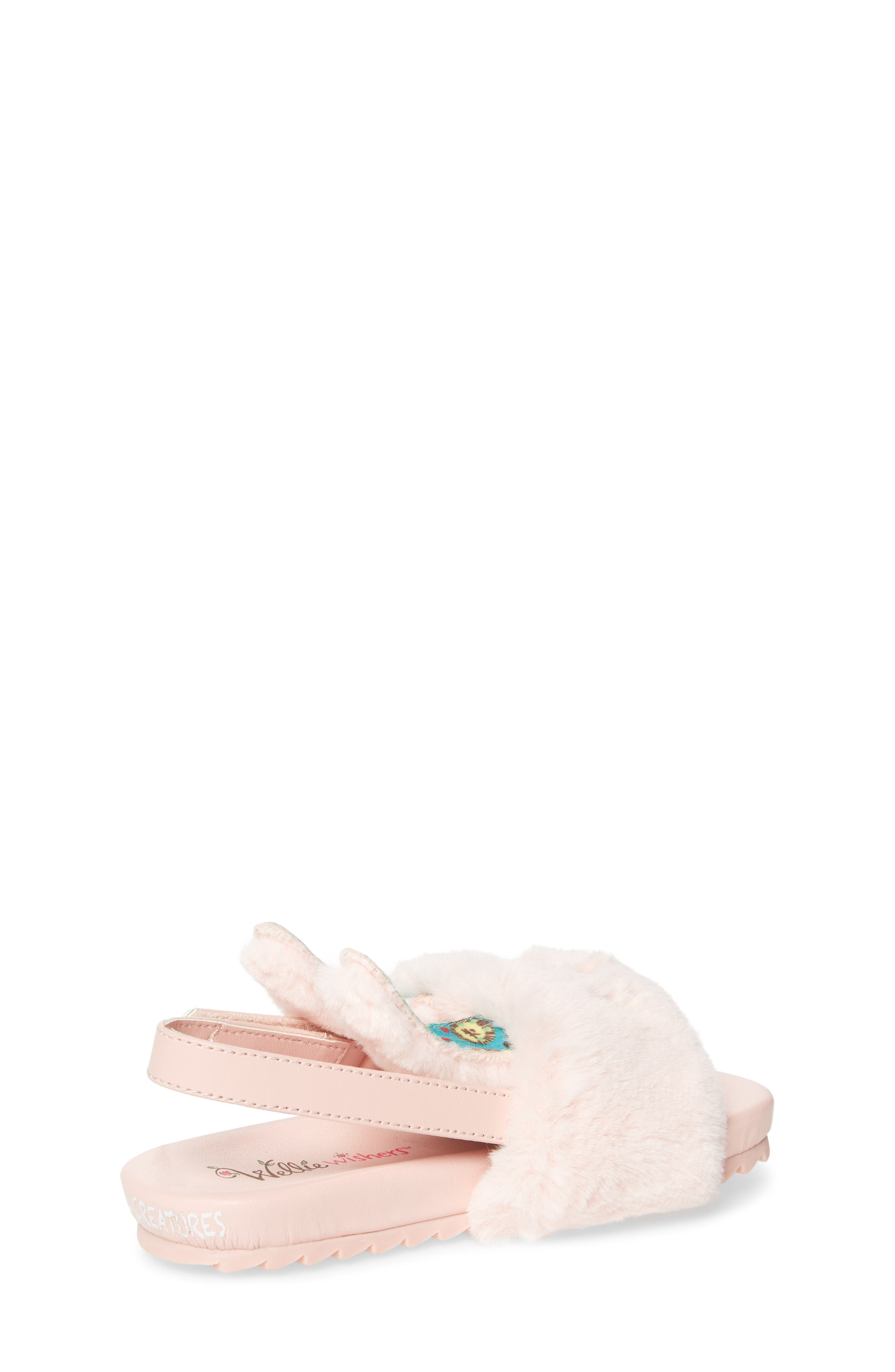 Alternate Image 2  - WellieWishers from American Girl Willa Carrot Faux Fur Strap Slide Sandal (Walker & Toddler)