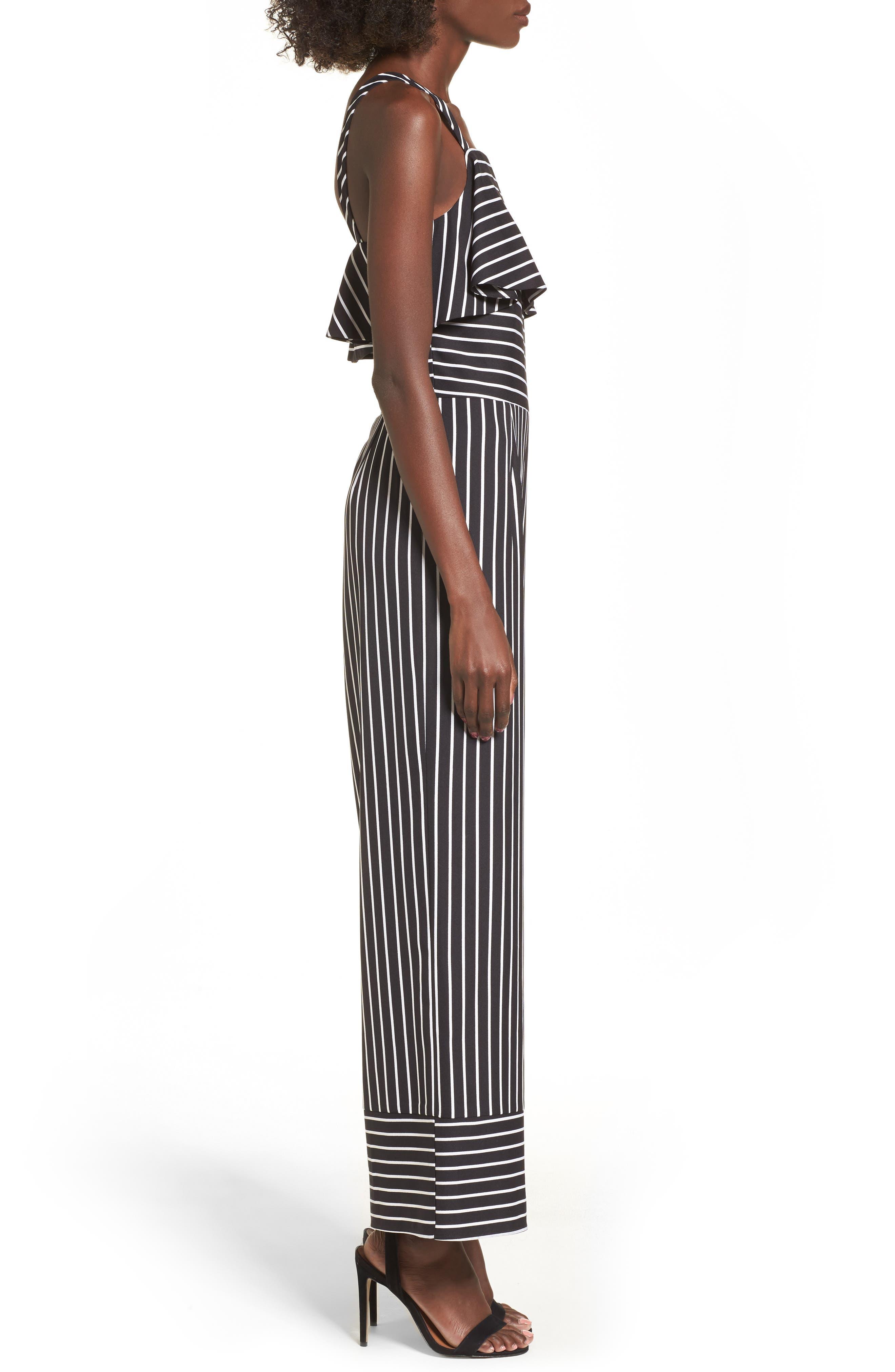 Stripe Jumpsuit,                             Alternate thumbnail 3, color,                             Black Bold Stripe