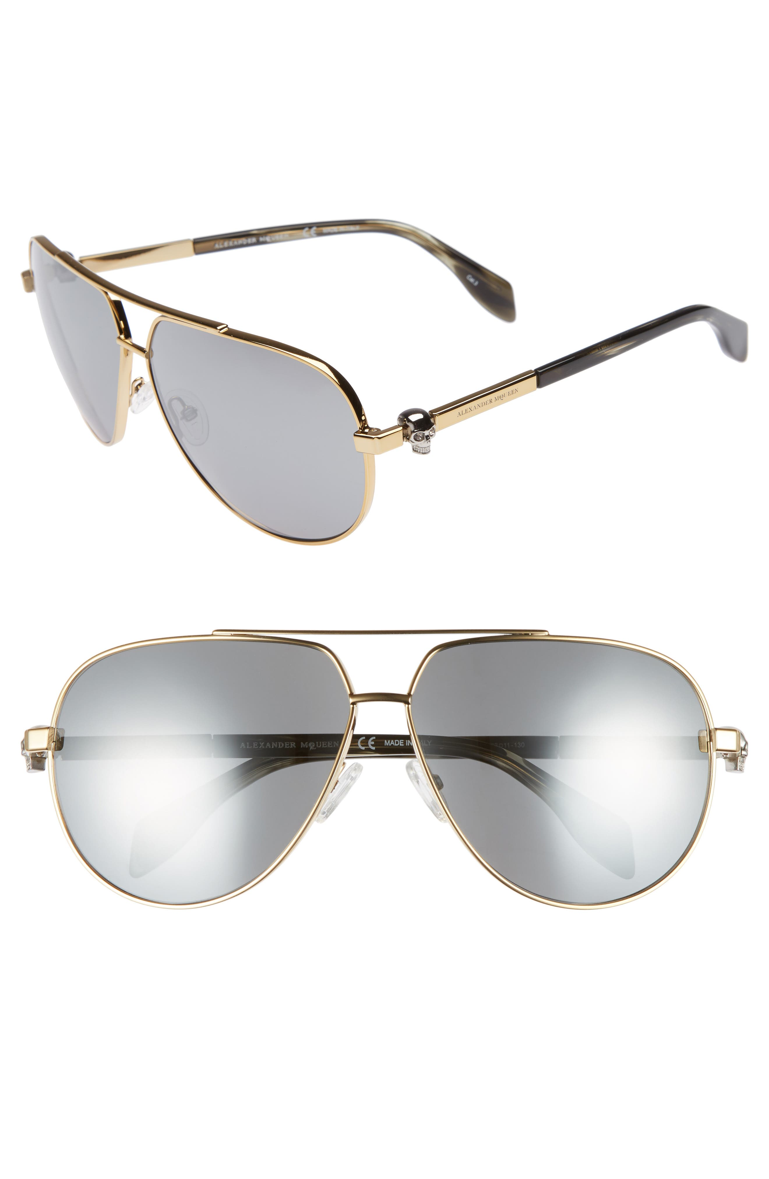 63mm Aviator Sunglasses,                             Main thumbnail 1, color,                             Gold