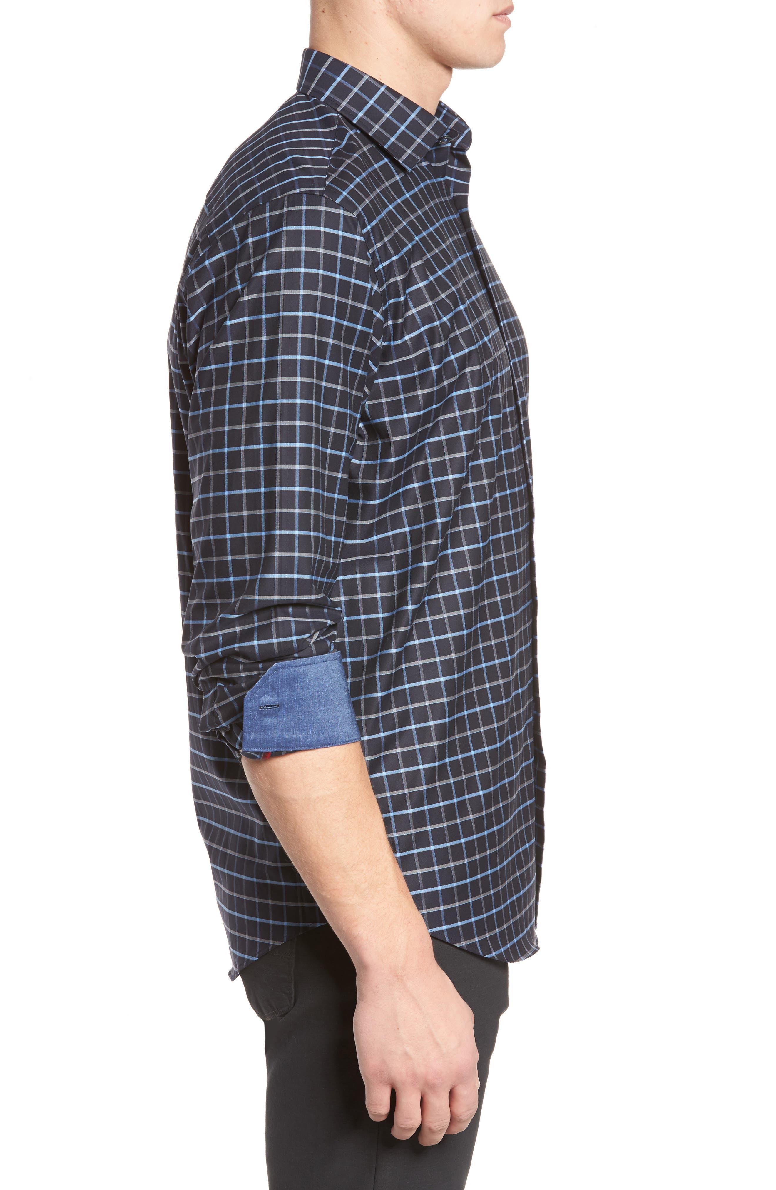 Alternate Image 3  - Bugatchi Classic Fit Grid Print Sport Shirt