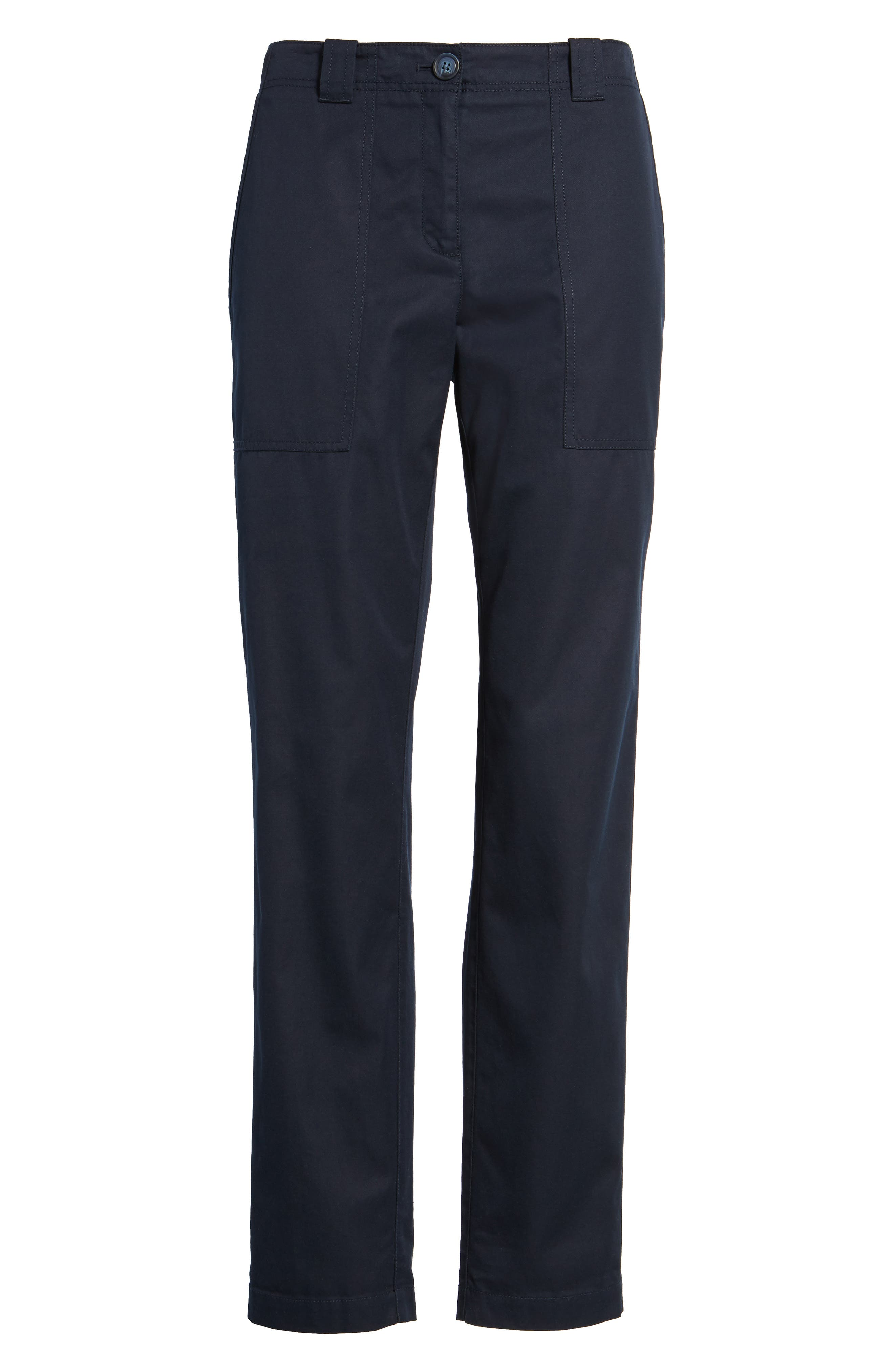 Patch Pocket Ankle Pants,                             Alternate thumbnail 6, color,                             Navy Night