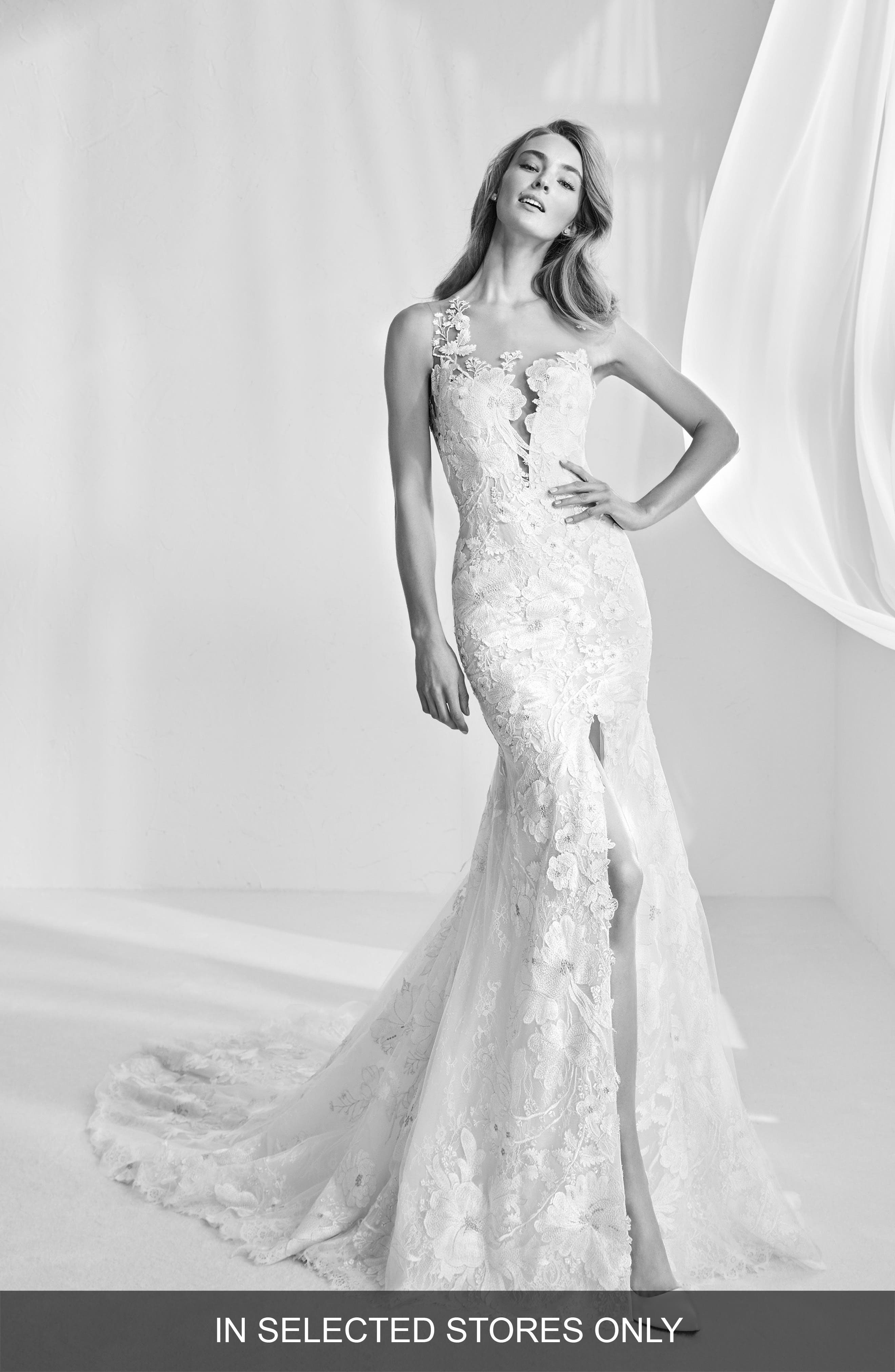 Ranisa Embroidered Lace Mermaid Gown,                             Main thumbnail 1, color,                             Off Wh/ Crst