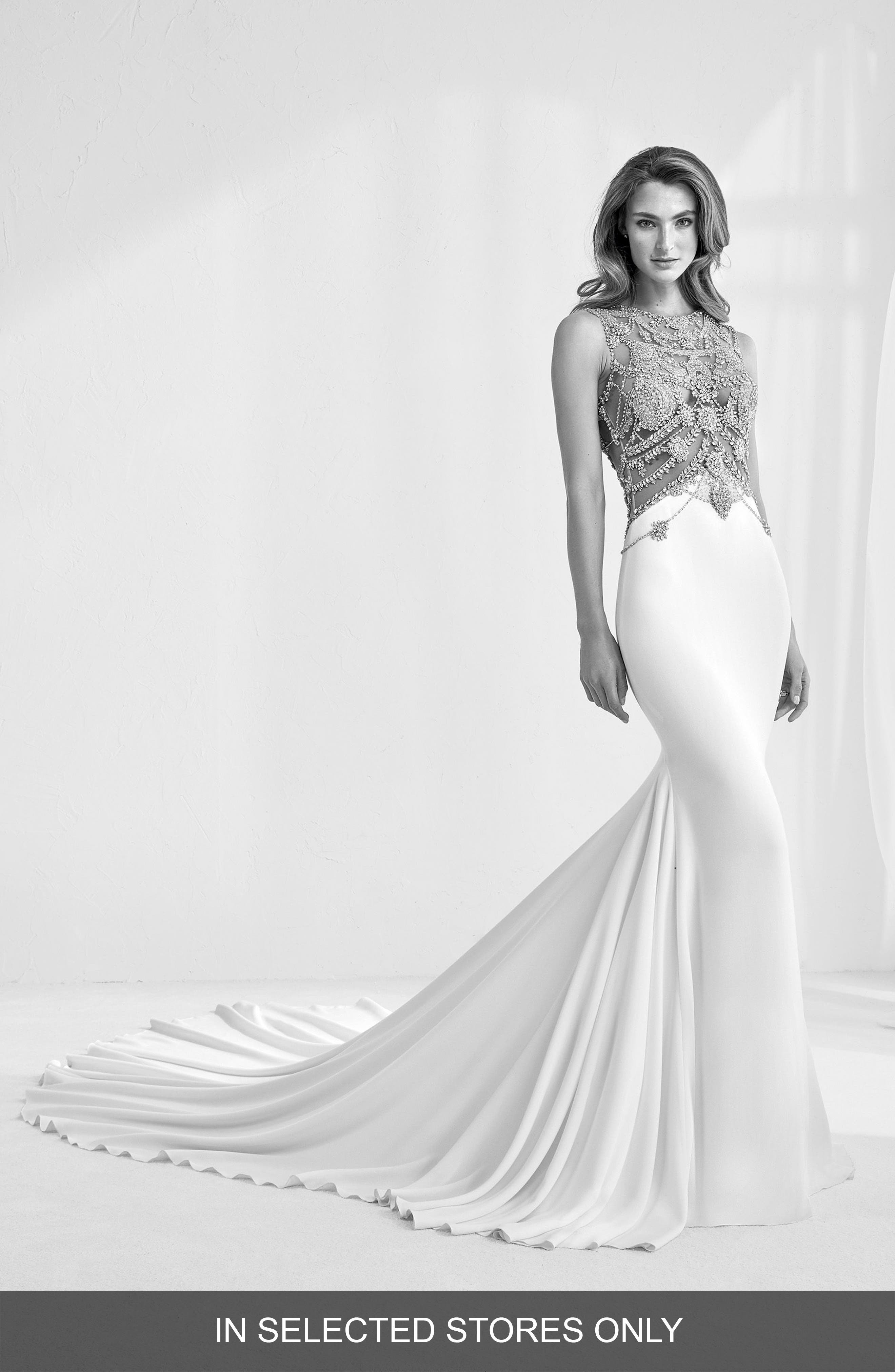 Ramir Jeweled Bodice Crepe Mermaid Gown,                         Main,                         color, Off Wh/ Nd