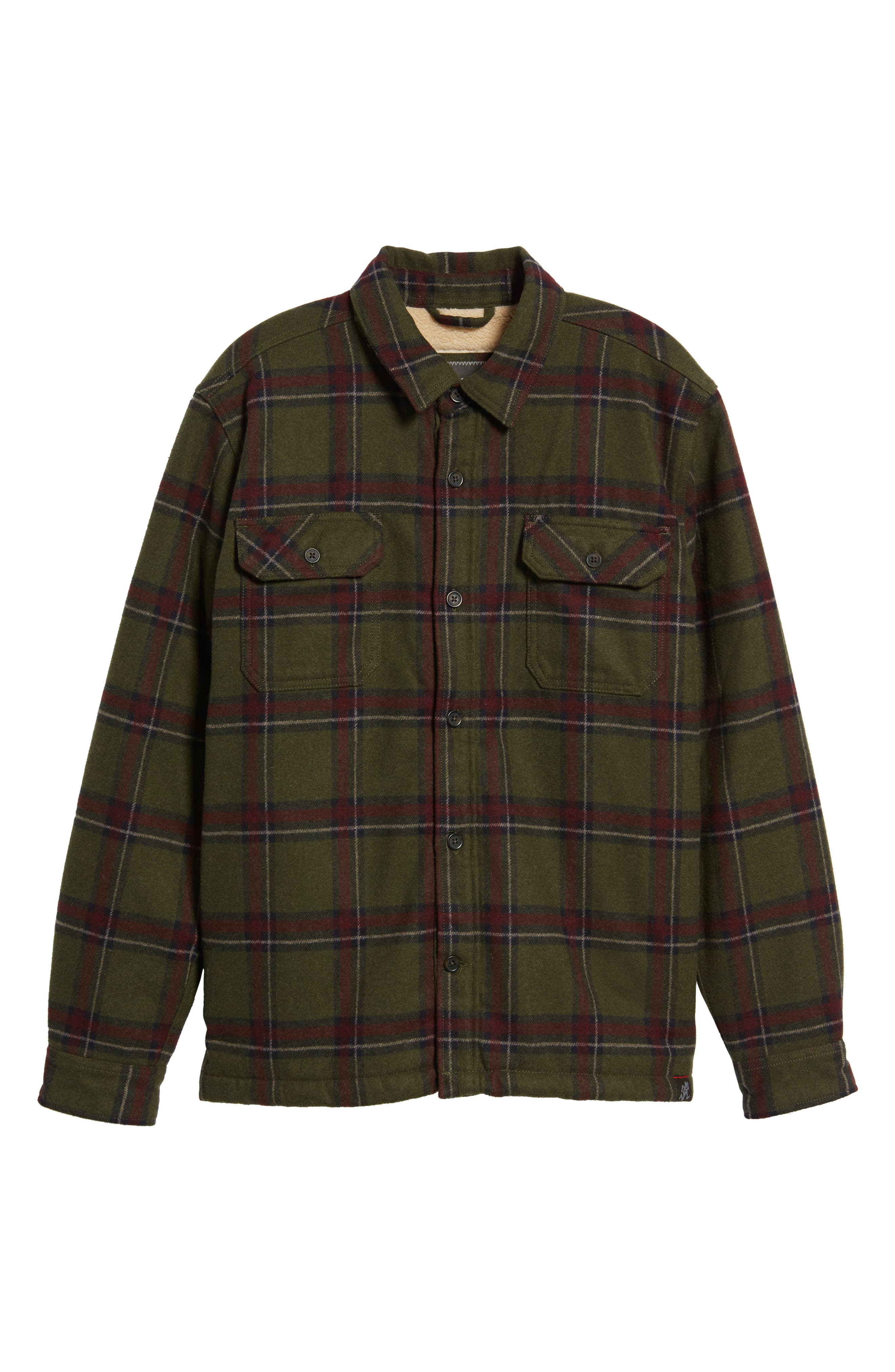 Tough Guy Plush Lined Flannel Shirt Jacket,                             Alternate thumbnail 6, color,                             Olive