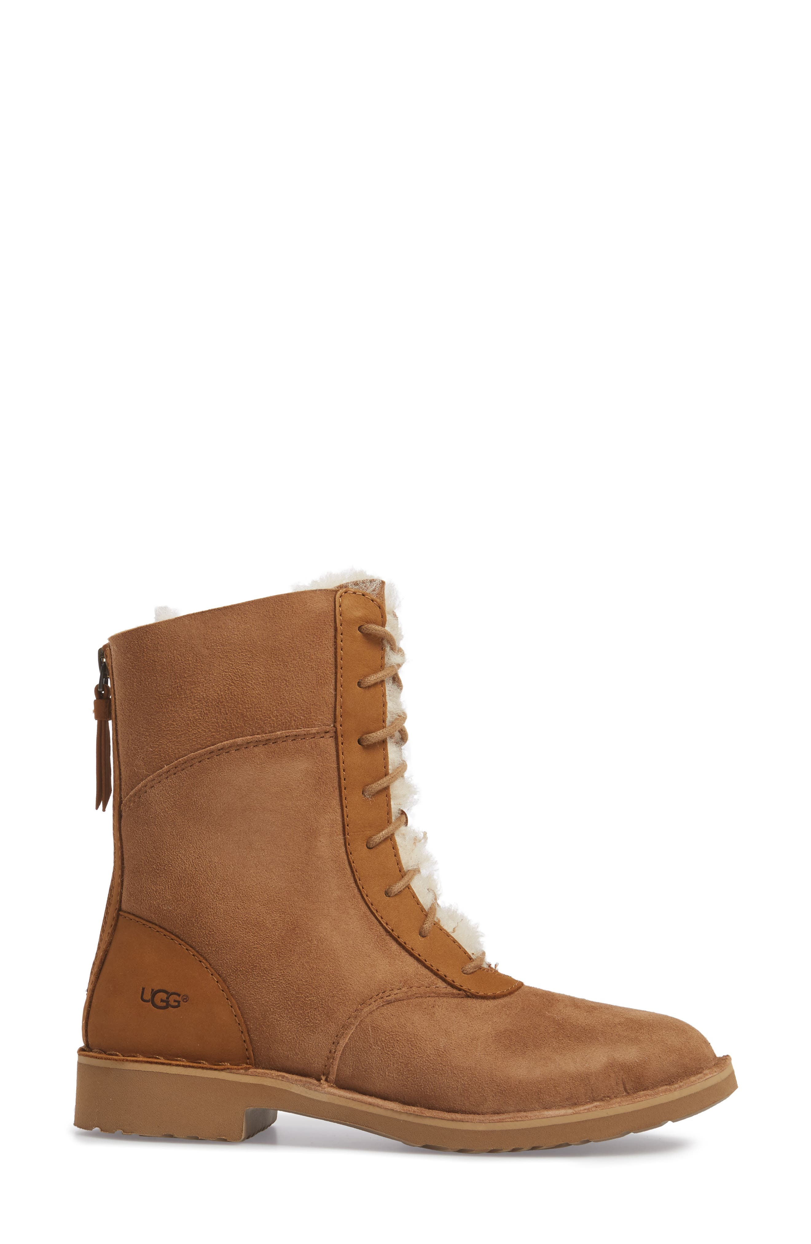 Daney Lace-Up Boot,                             Alternate thumbnail 3, color,                             Chestnut Suede