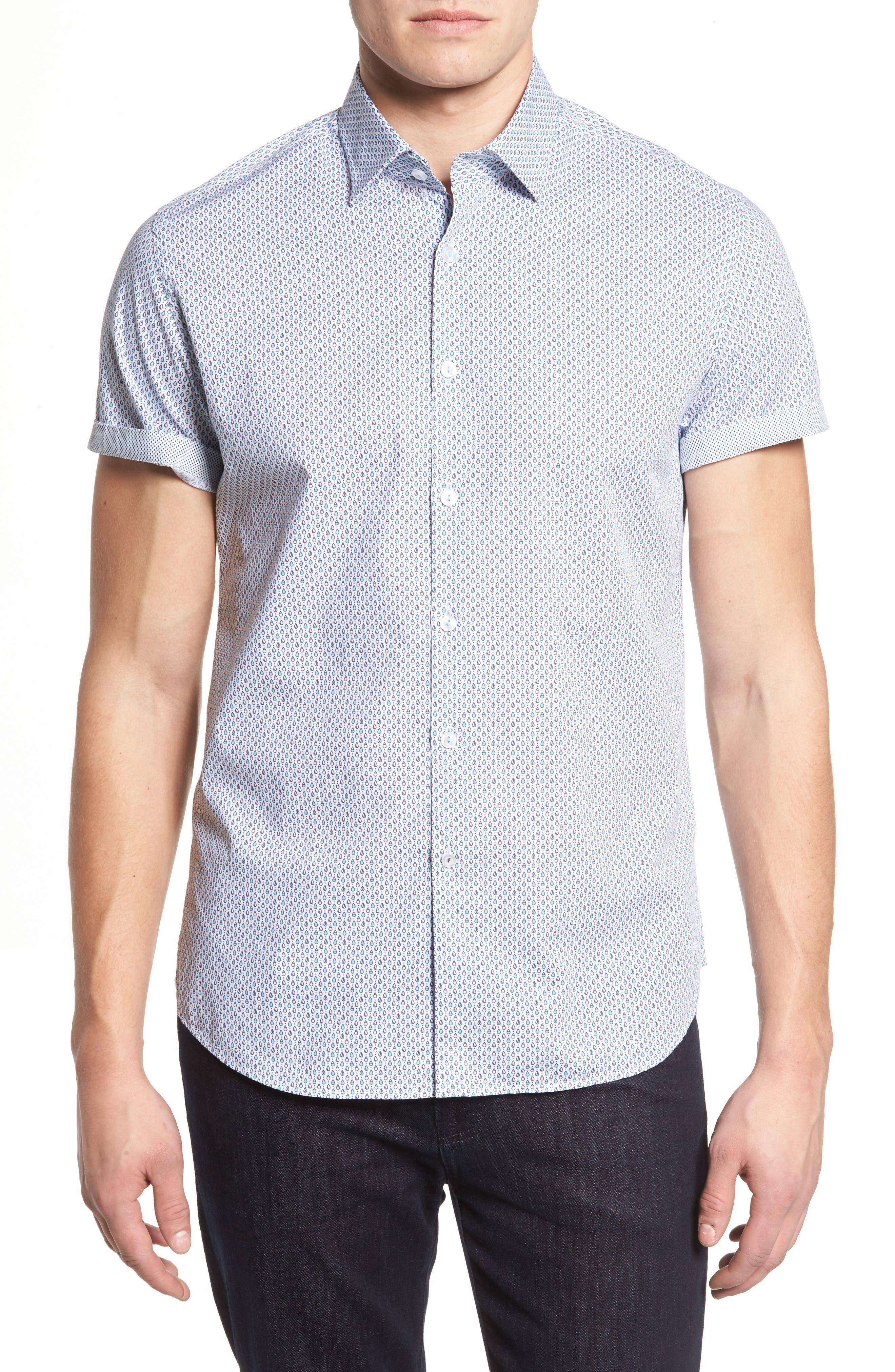 Trim Fit Teardrop Sport Shirt,                             Main thumbnail 1, color,                             White