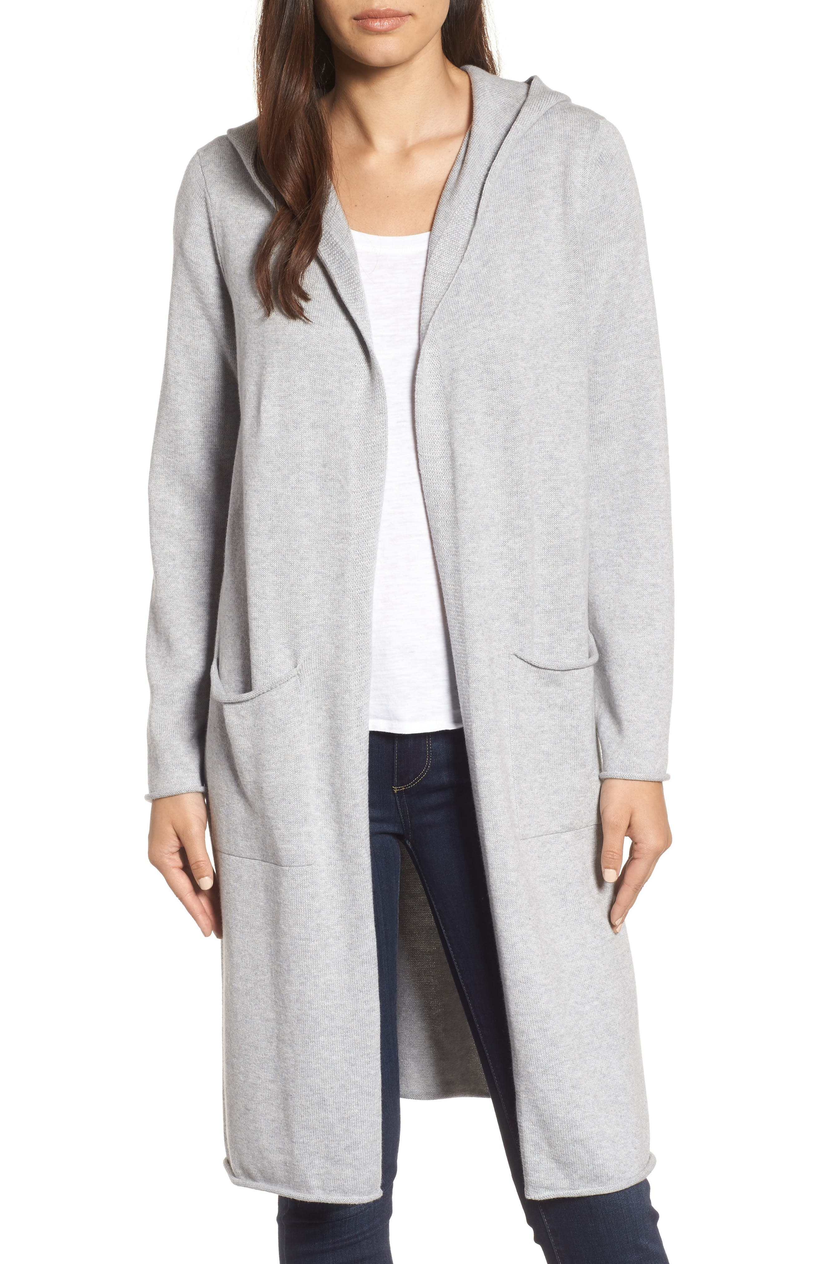 Alternate Image 1 Selected - Eileen Fisher Organic Cotton Hooded Cardigan
