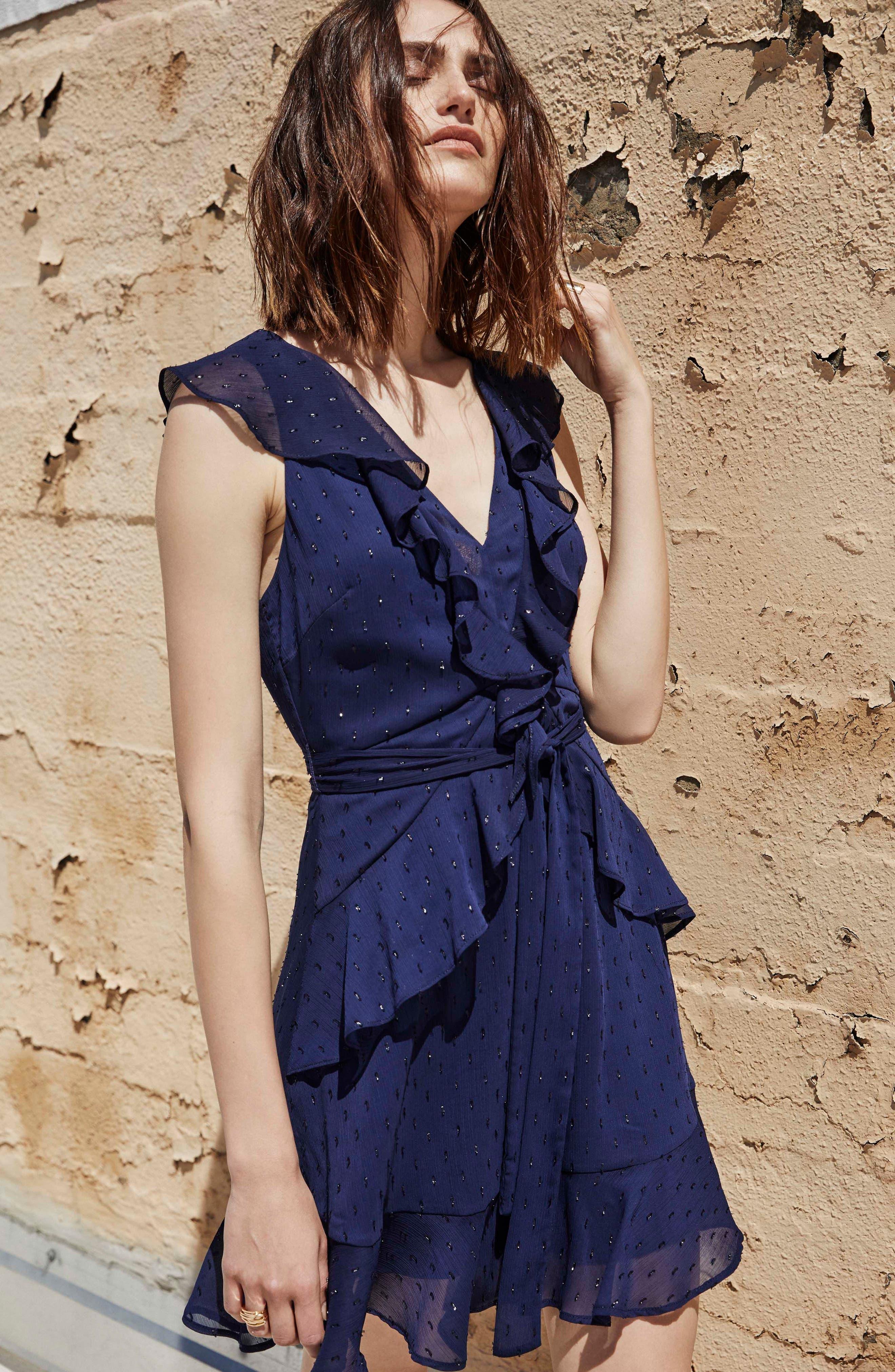 Brynn Fit & Flare Dress,                             Alternate thumbnail 2, color,                             Navy Sparkle