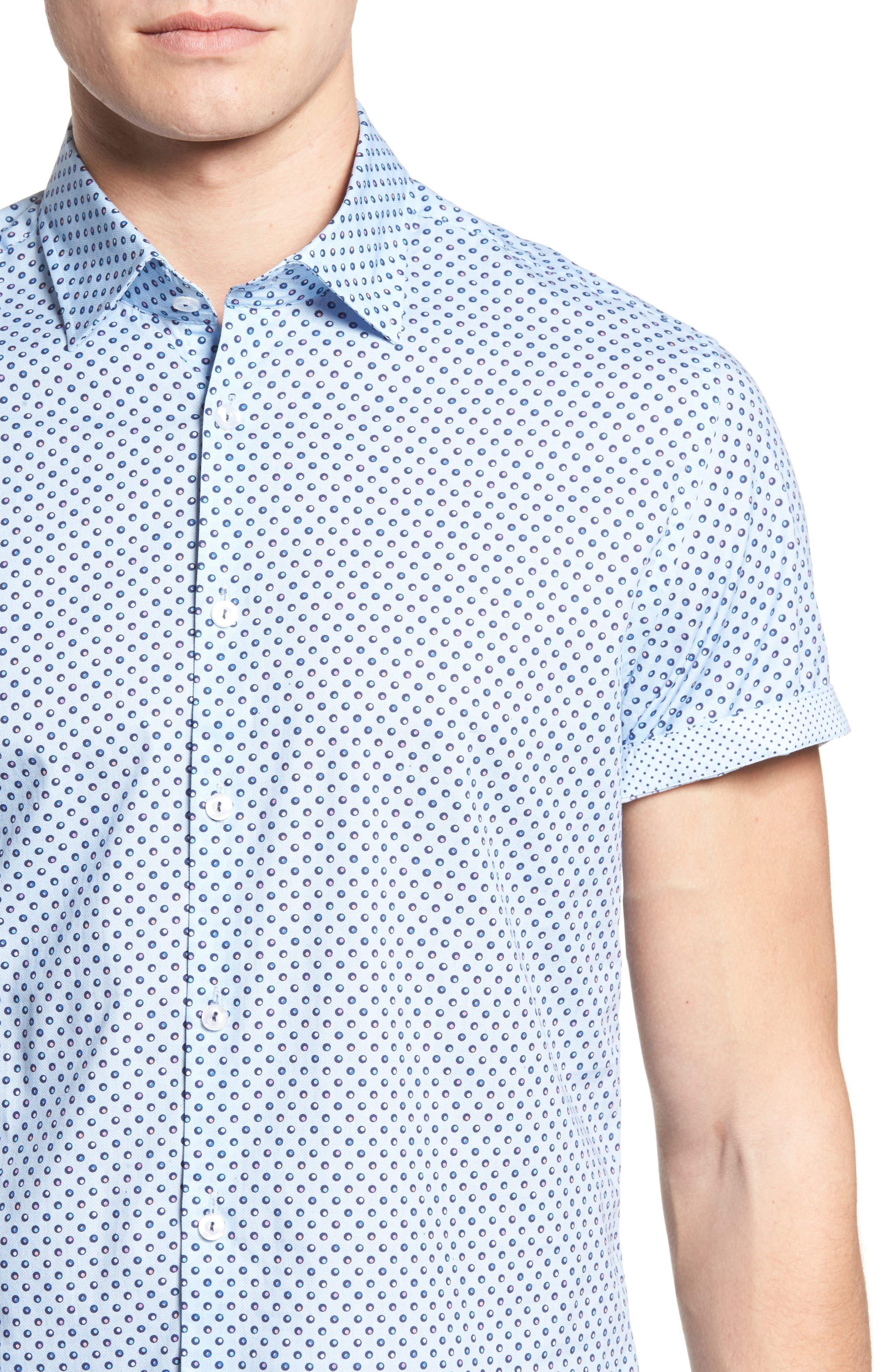 Trim Fit Circle Print Sport Shirt,                             Alternate thumbnail 4, color,                             Sky Blue
