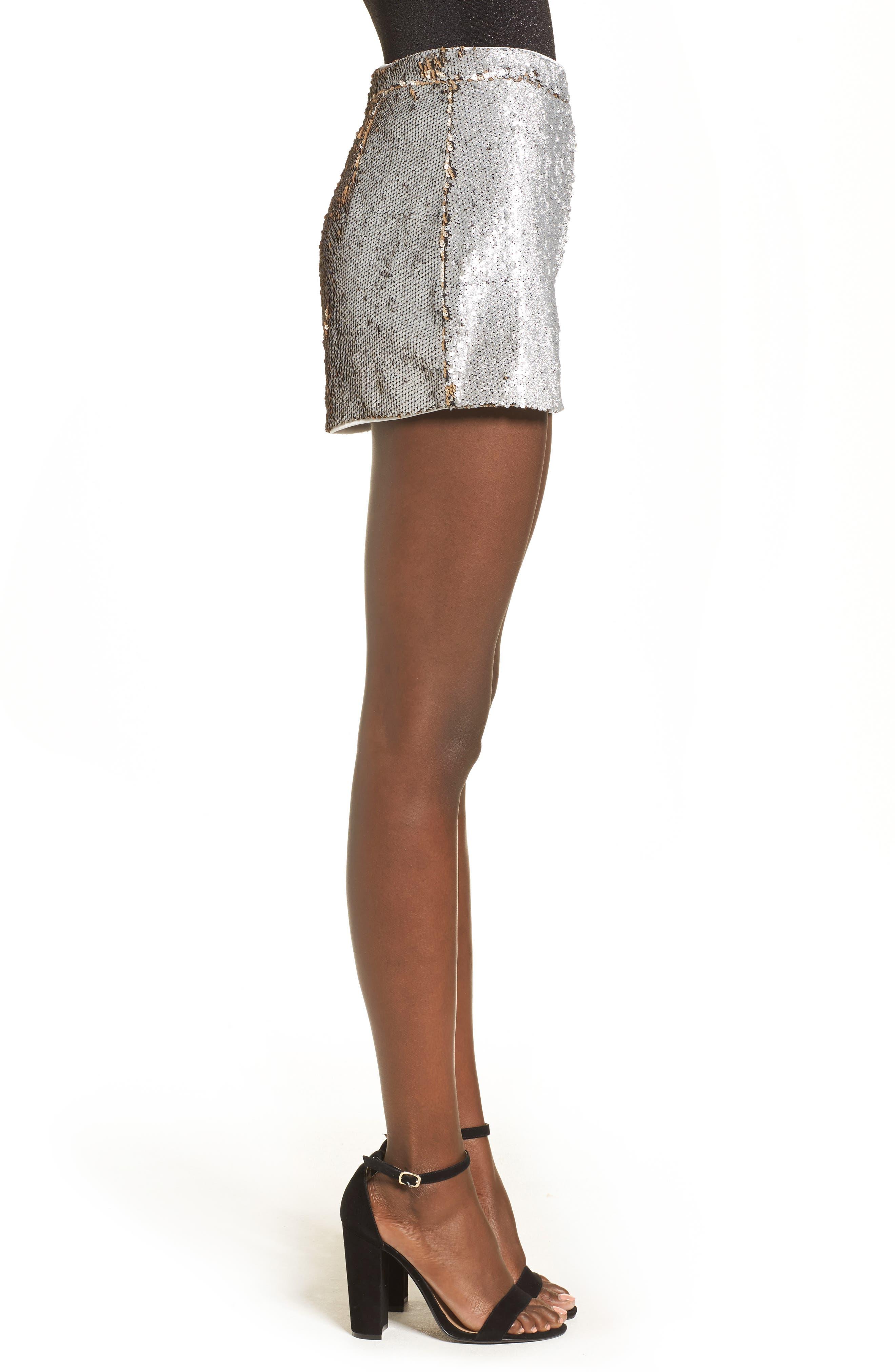 High Waist Sequin Shorts,                             Alternate thumbnail 3, color,                             Gold/ Silver