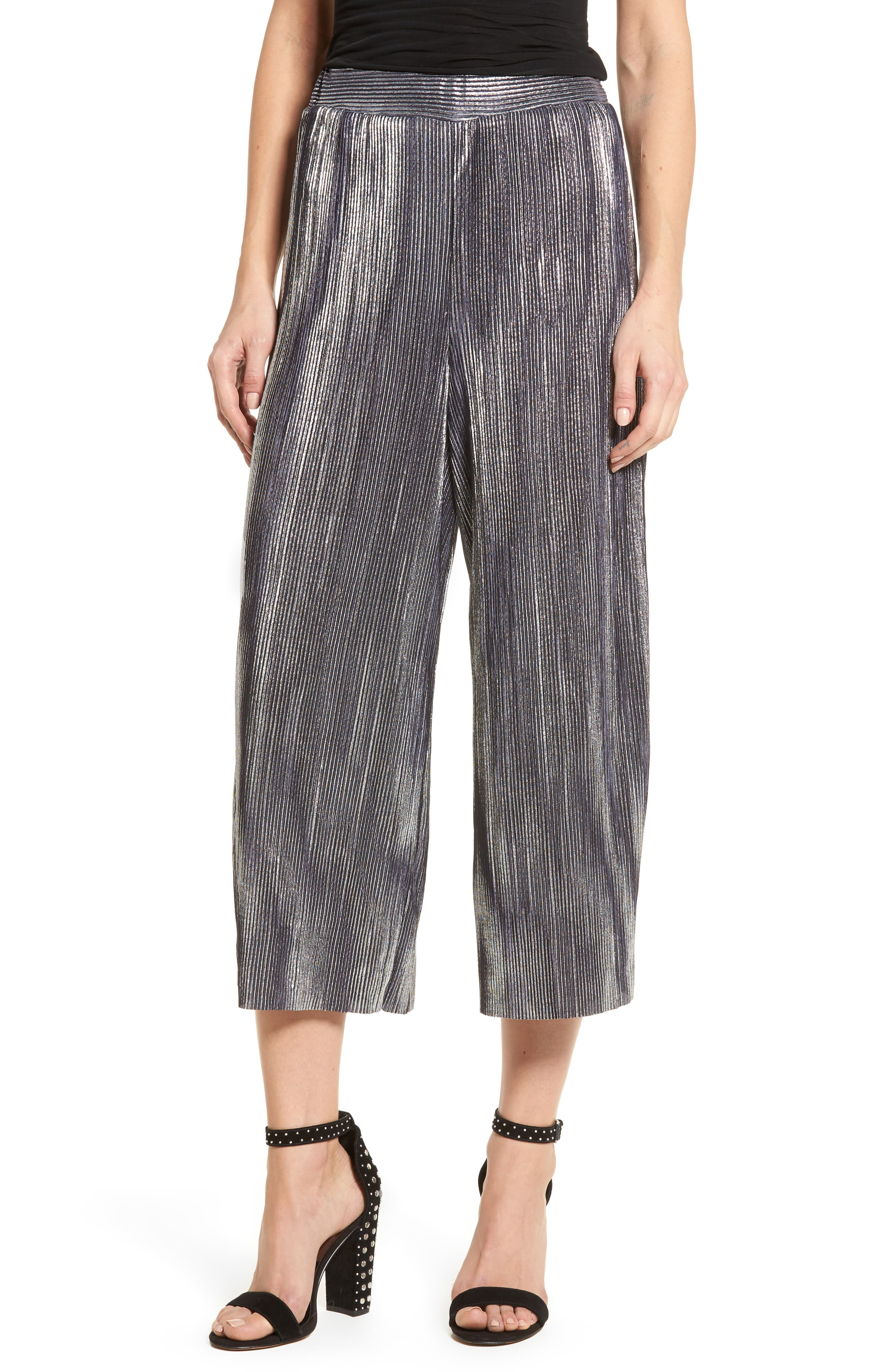 Metallic Pleated Crop Pants,                         Main,                         color, Silver