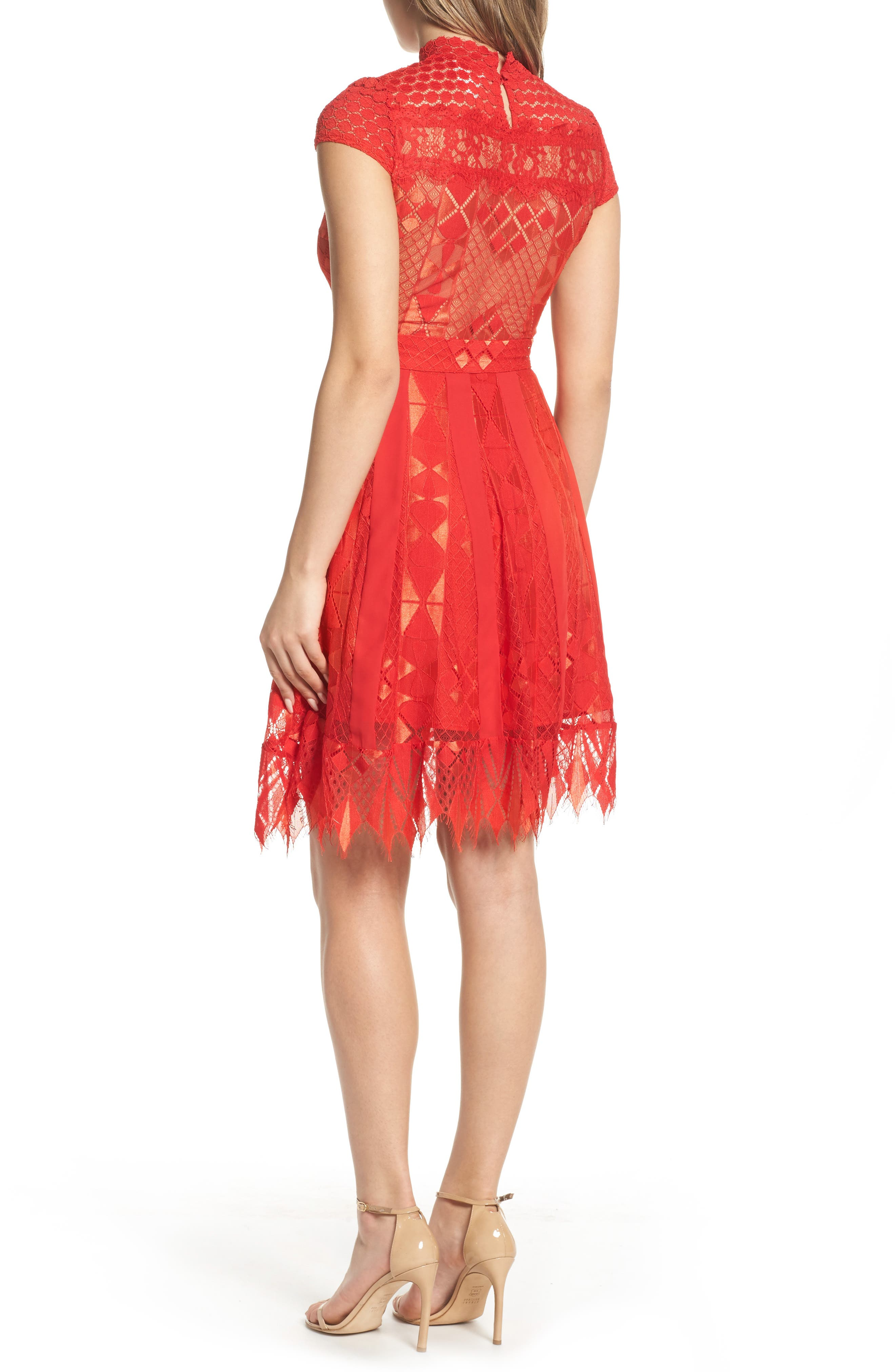 Bravo Zulu Lace Fit & Flare Dress,                             Alternate thumbnail 2, color,                             Red Blush
