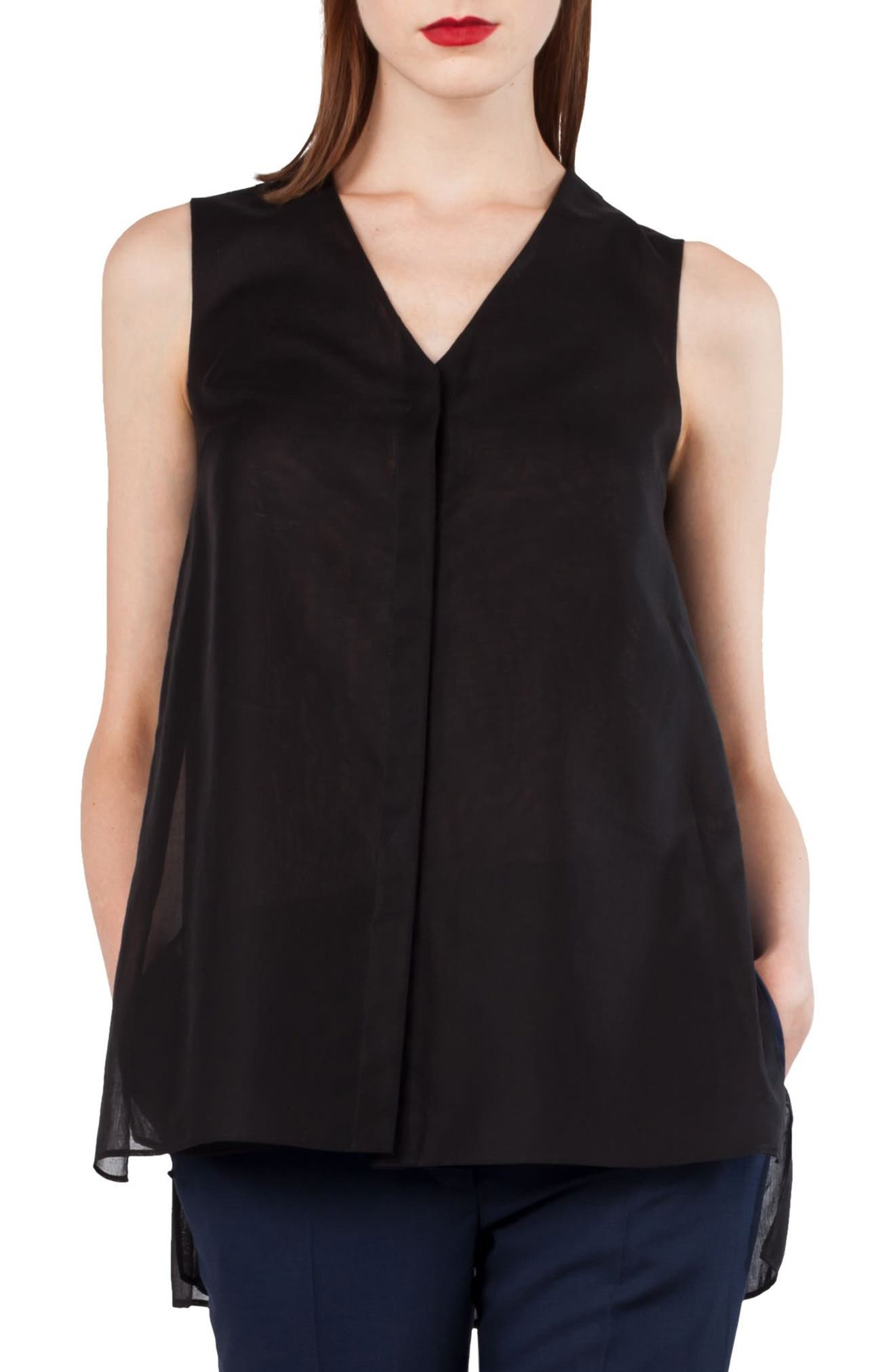 Cotton Voile A-Line Blouse,                             Main thumbnail 1, color,                             Black