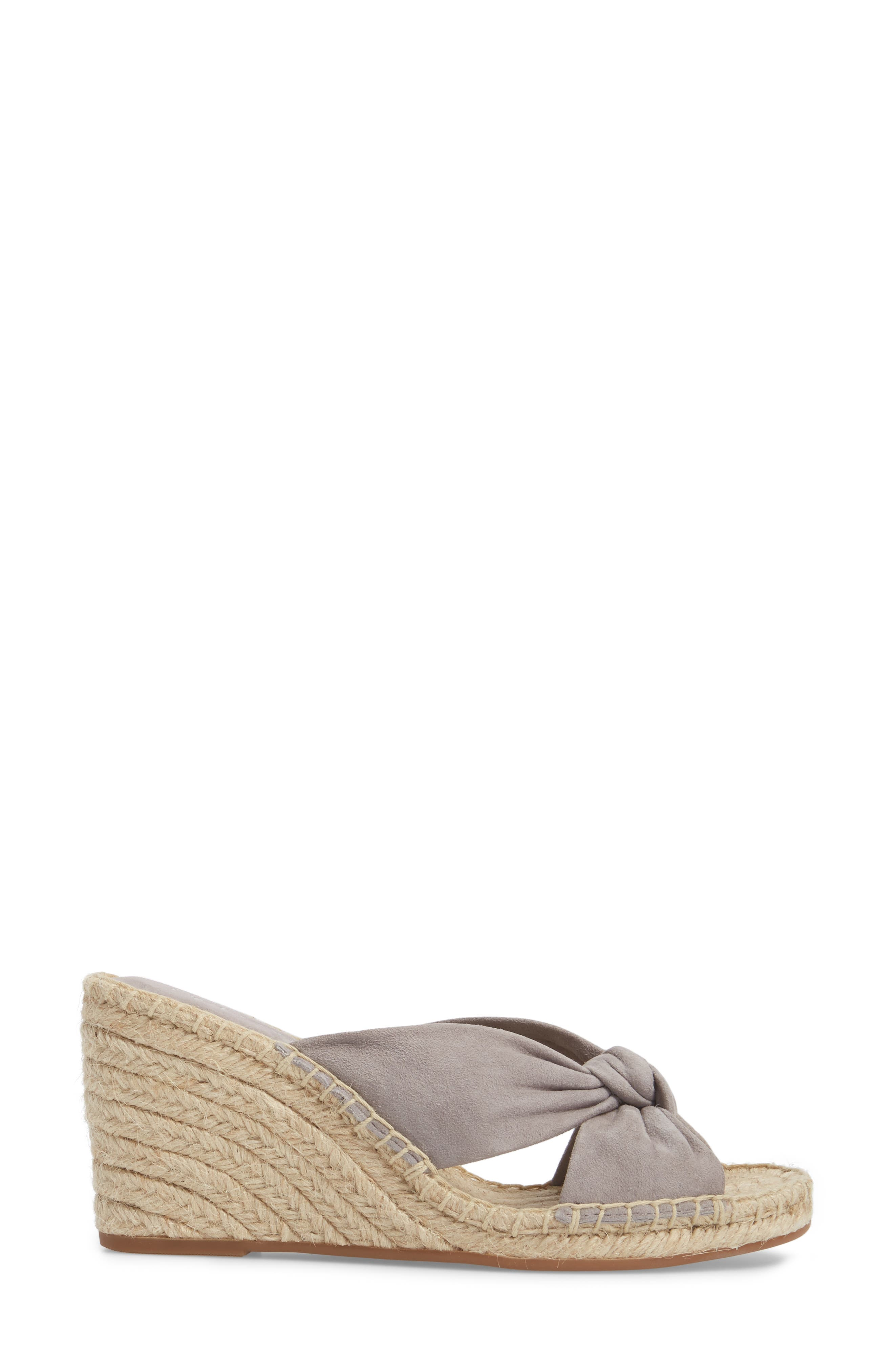 Bautista Knotted Wedge Sandal,                             Alternate thumbnail 3, color,                             Grey Suede
