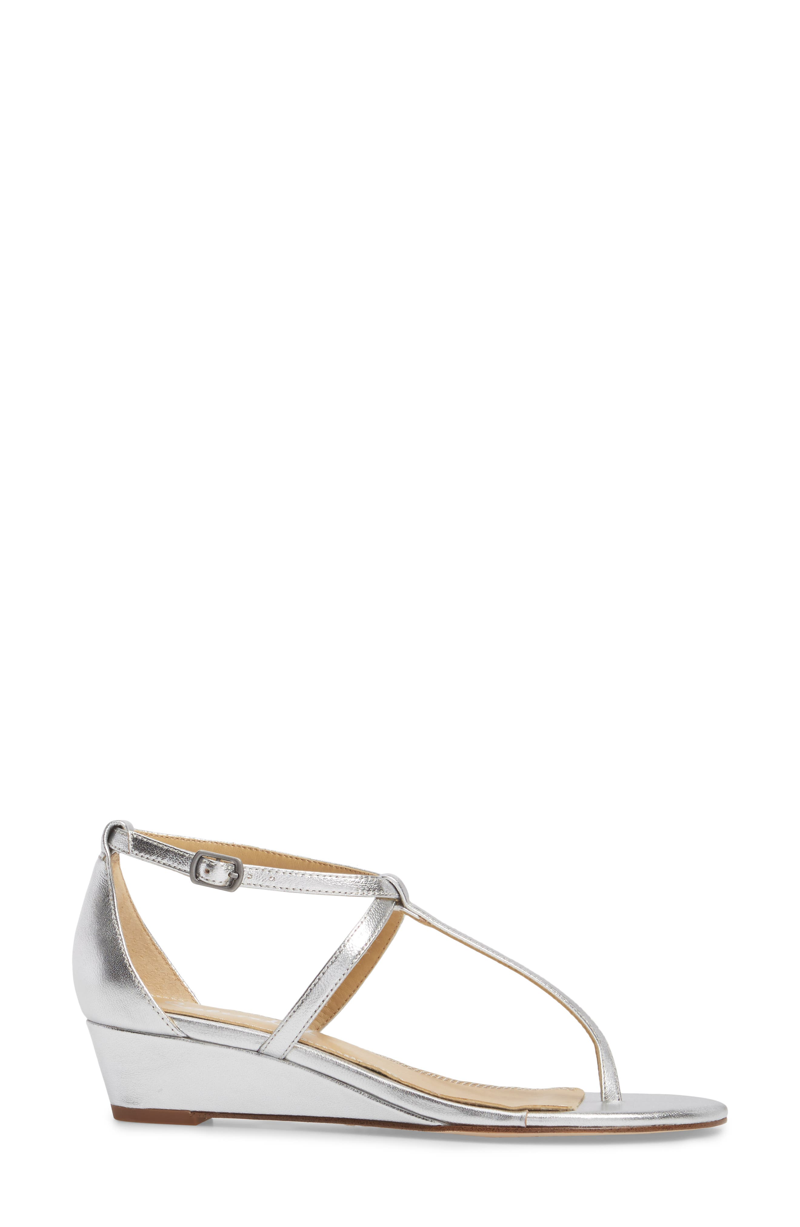 Bryce T-Strap Wedge Sandal,                             Alternate thumbnail 3, color,                             Silver Metallic Leather