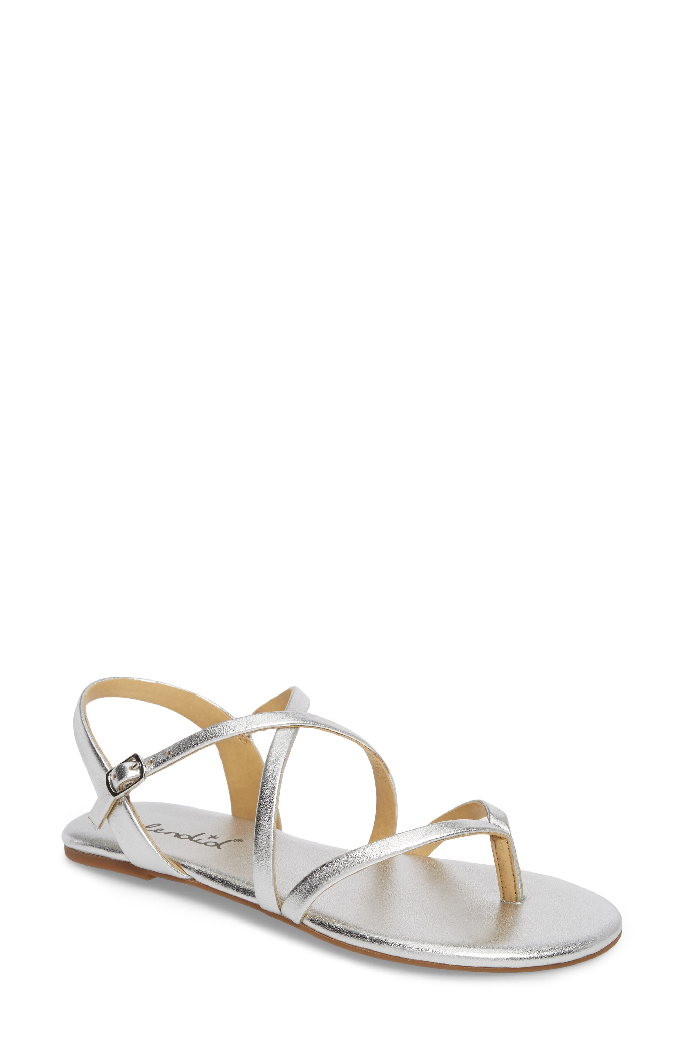 Brett Strappy Flat Sandal,                             Main thumbnail 1, color,                             Silver Metallic Leather