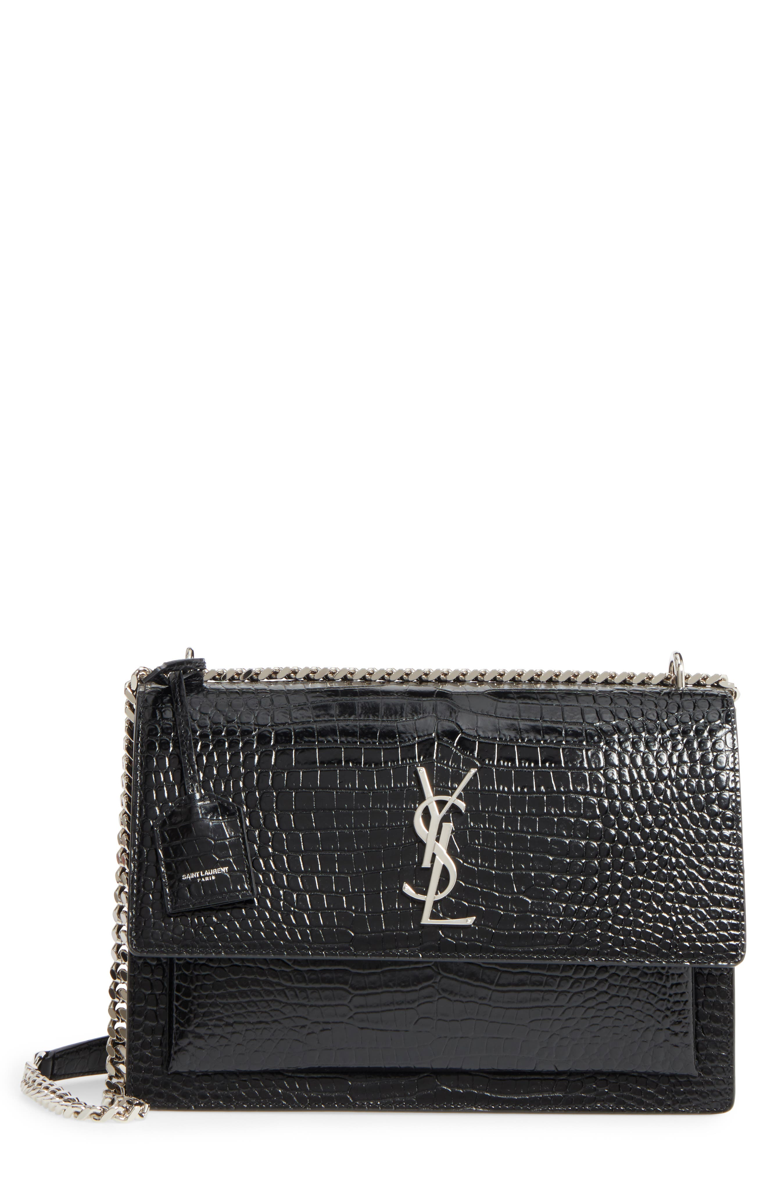 Saint Laurent Large Sunset Croc Embossed Leather Shoulder Bag