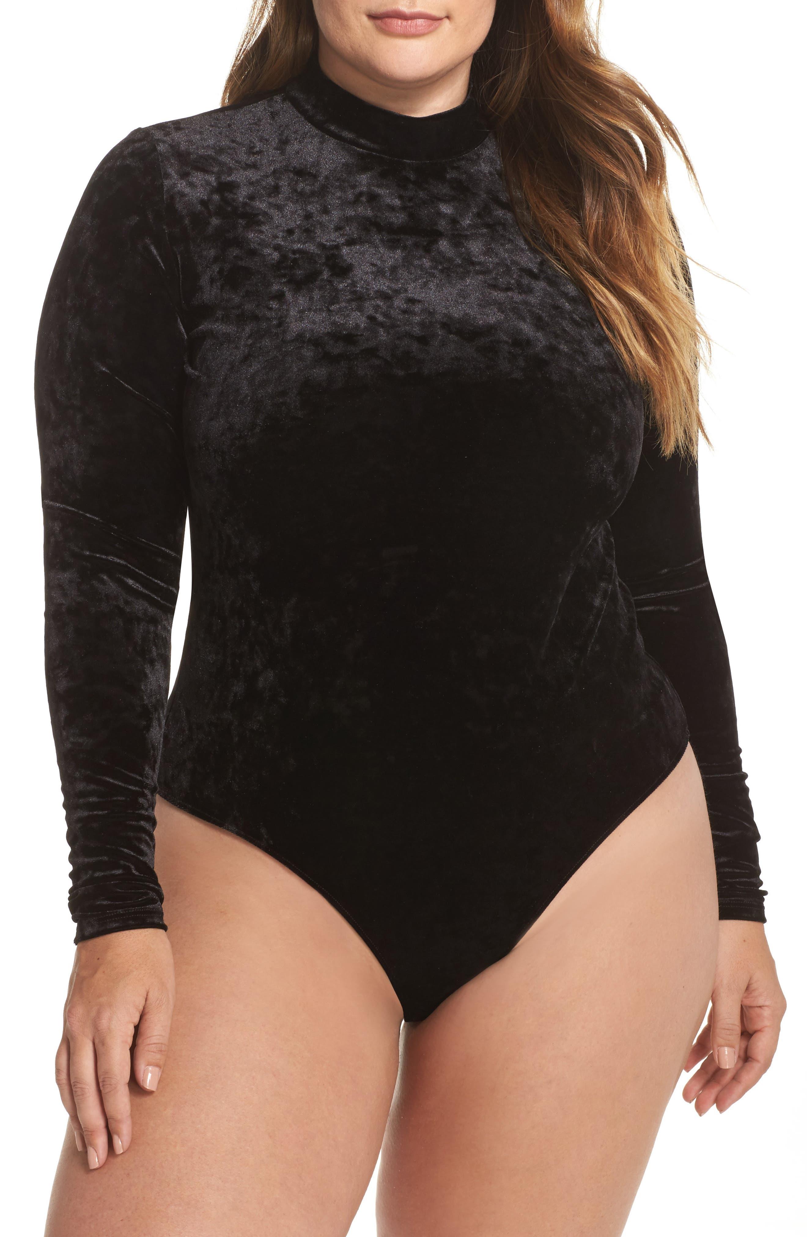 Velvet Thong Bodysuit,                         Main,                         color, Black