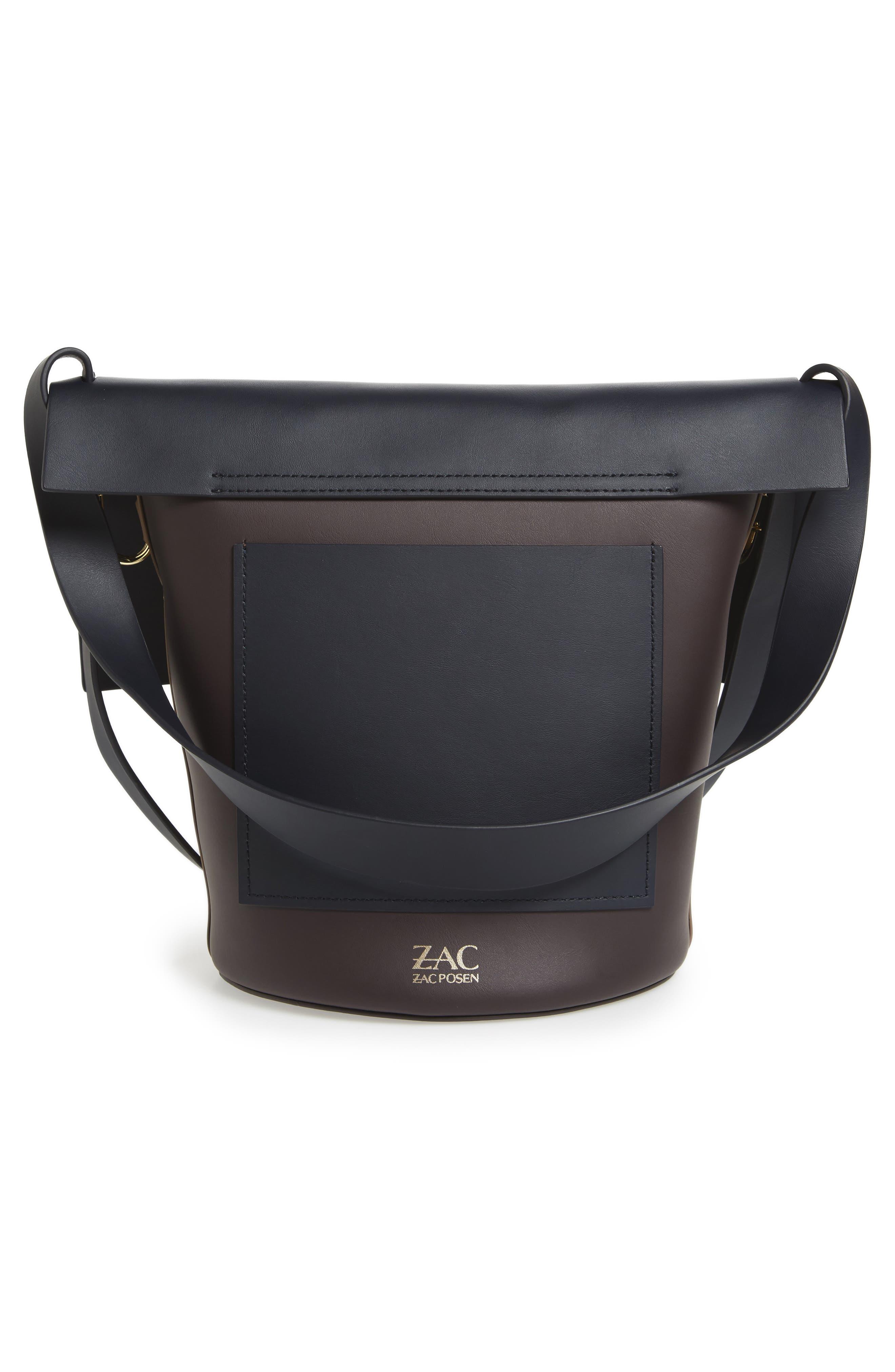 Belay Colorblock Calfskin Leather Bucket Bag,                             Alternate thumbnail 3, color,                             Navy Color Block