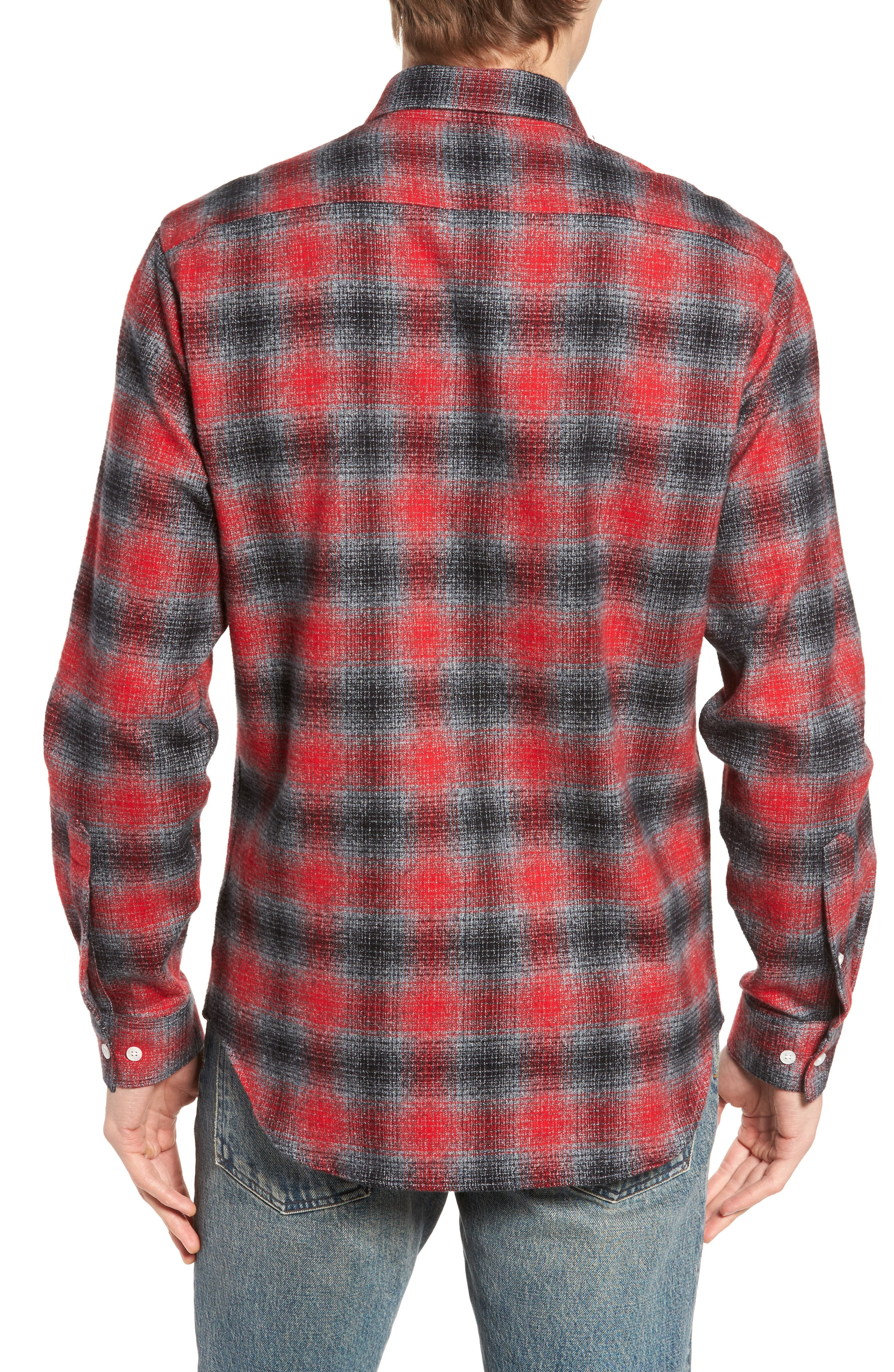 Stowe Slim Fit Plaid Sport Shirt,                             Alternate thumbnail 2, color,                             Platnium Grey
